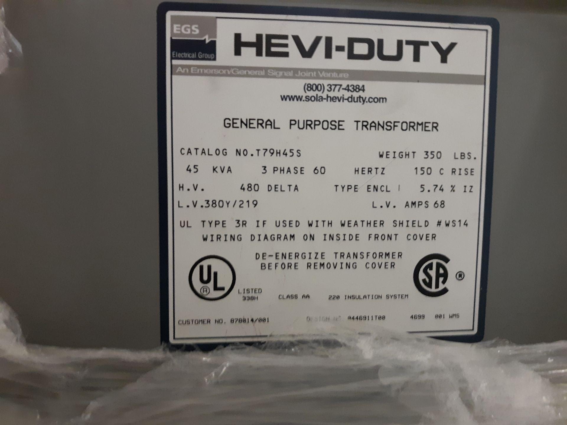 Lot 14 - EGS HEVI-DUTY GENERAL PURPOSE TRANSFORMER 45KVA/ 3PH/60HG: RIGGING FEE: $10