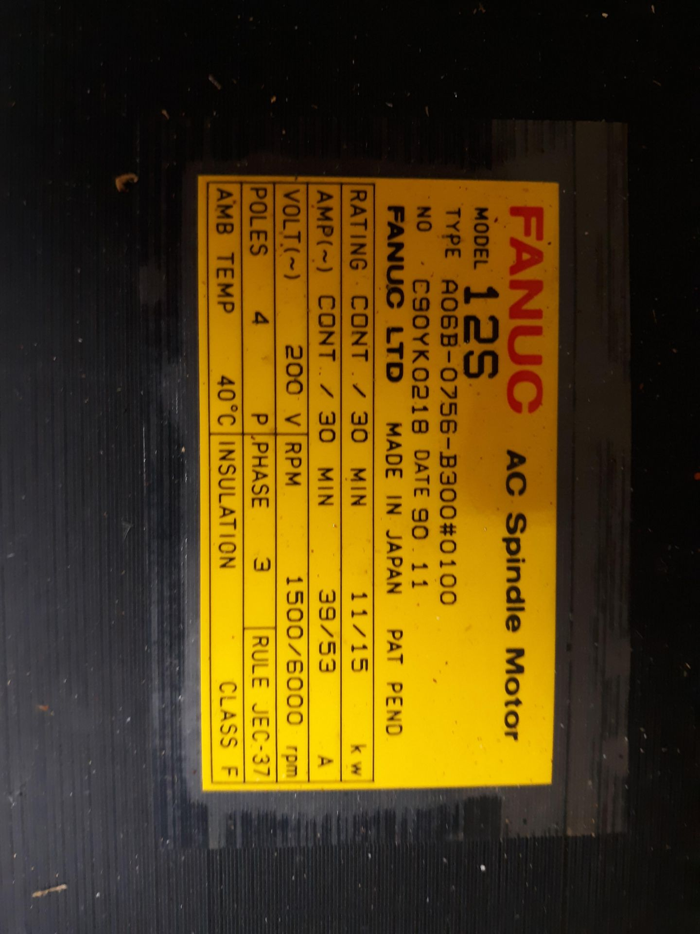 Lot 5 - FANUC AC SPINDLE MOTOR MODEL-12S 3-PHASE; RIGGING FEE: $10