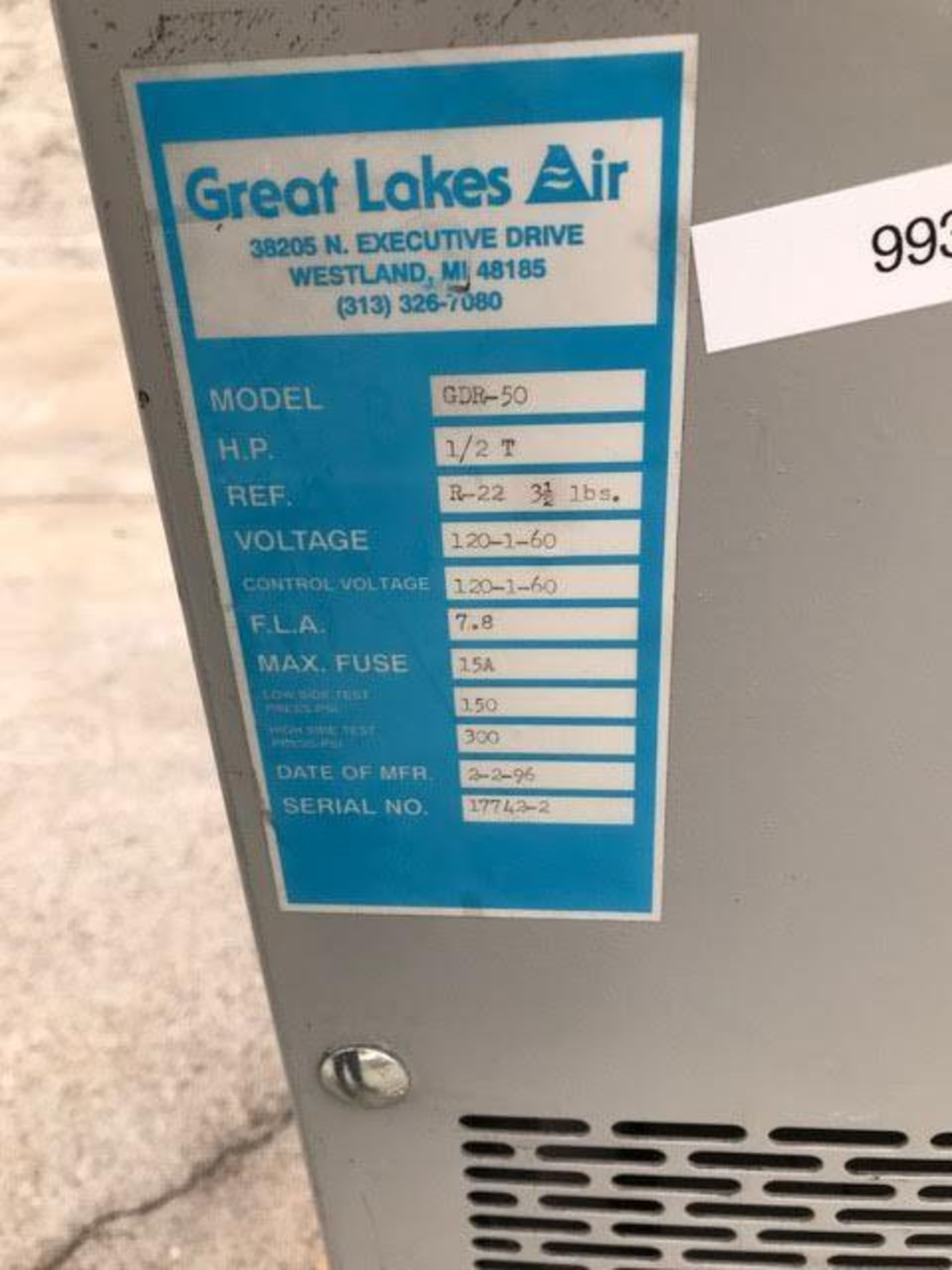 Lot 87 - Great Lakes Air Compressed Air Dryer