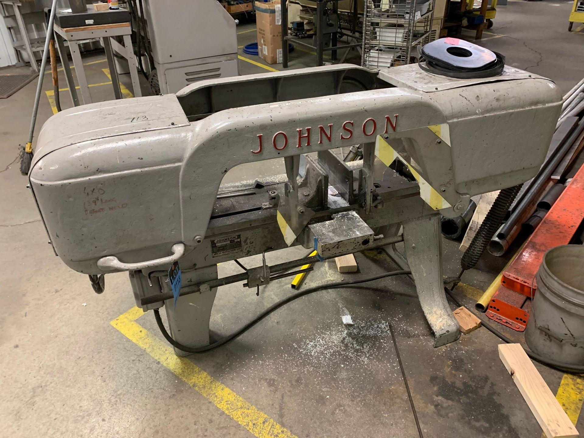 "Lot 113 - JOHNSON MODEL ""J"" HORIZONTAL BAND SAW; S/N 6250"