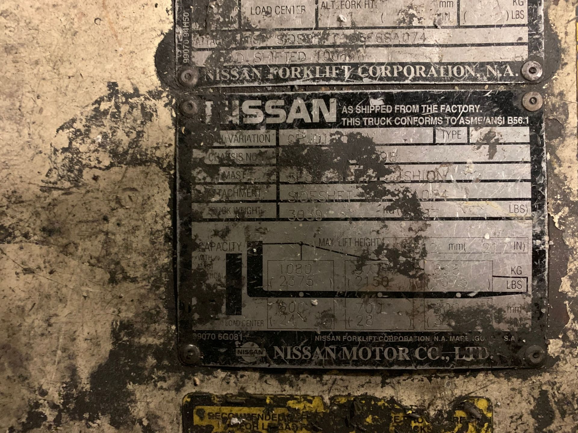 "Lot 105 - 3,000 LB. NISSAN MODEL OPTIMUM 30 SOLID TIRE LP GAS FORKLIFT; S/N CPJ01-9N6698, 3-STAGE MAST, 290"""