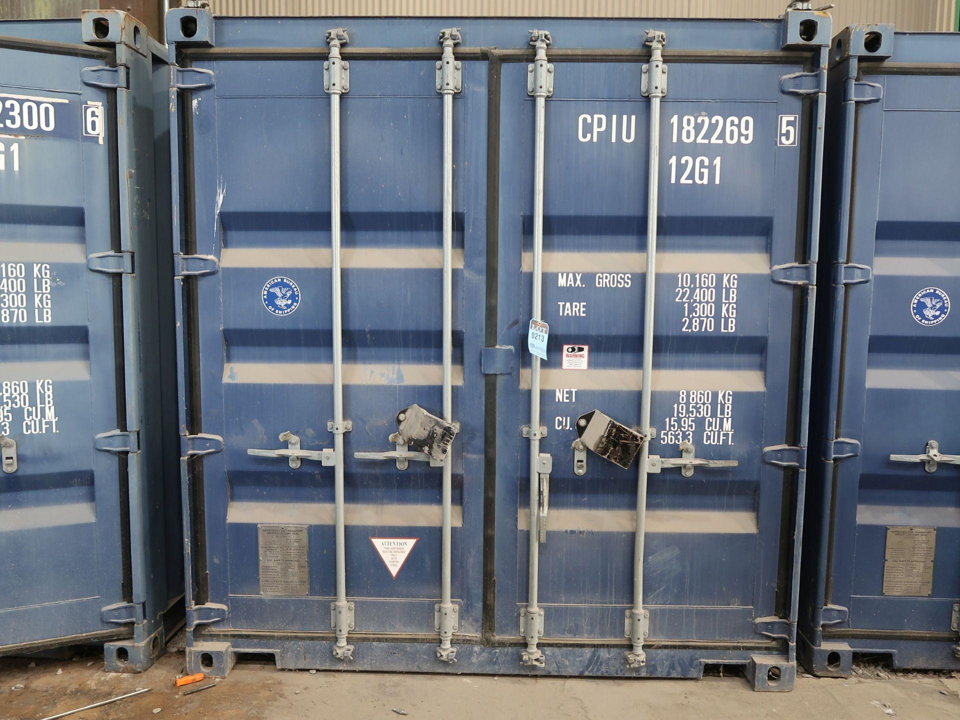 """Lot 213 - 96"""" X 118"""" X 102"""" X 563 CU. FT. CONEX STORAGE CONTAINER WITH STANDARD DOOR"""