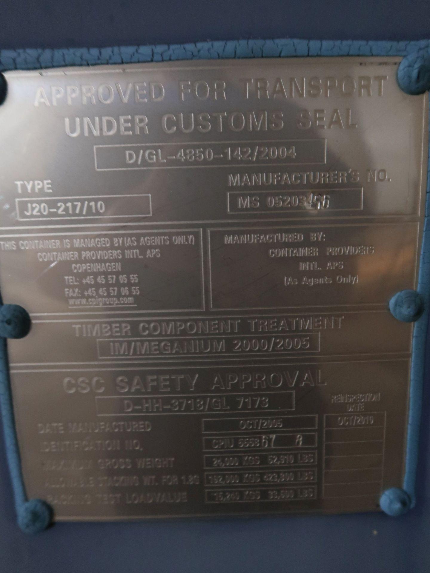 Lot 588 - 8' X 20' CONEX STORAGE CONTAINER WITH STANDARD DOOR AND SIDE DOORS