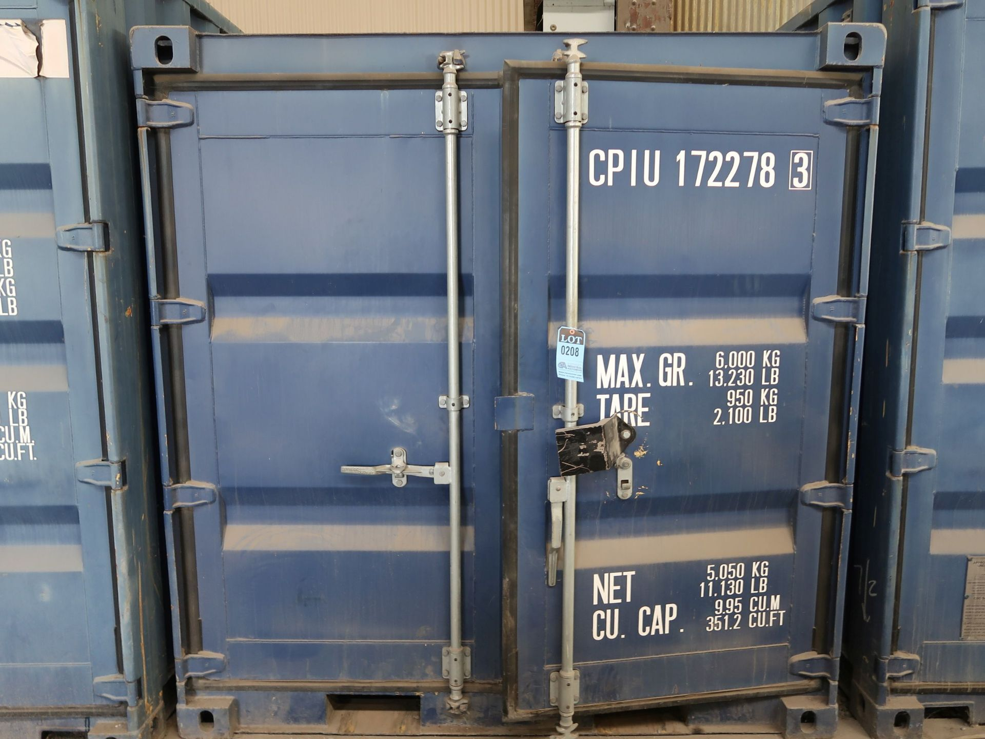 """Lot 208 - 86"""" X 96"""" X 89"""" X 351 CU. FT. CONEX STORAGE CONTAINER WITH STANDARD DOOR"""