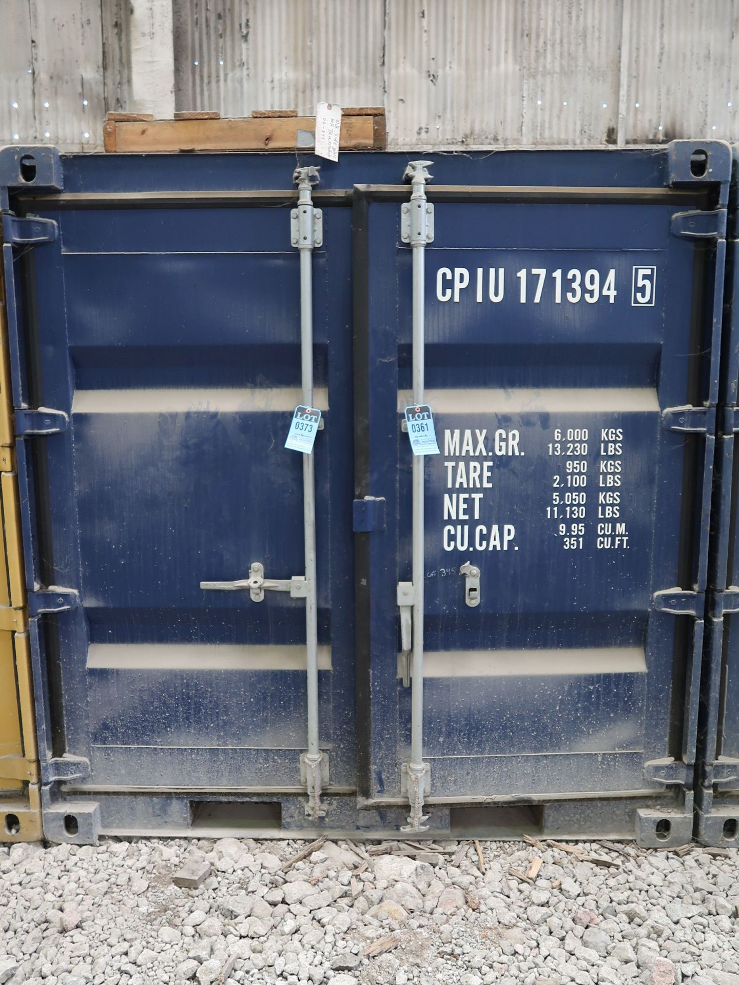 Lot 373 - 7' WIDE X 8' LONG CONTAINER PROVIDER INTL CONEX STORAGE CONTAINER WITH STANDARD DOOR, 351 CU. FT.