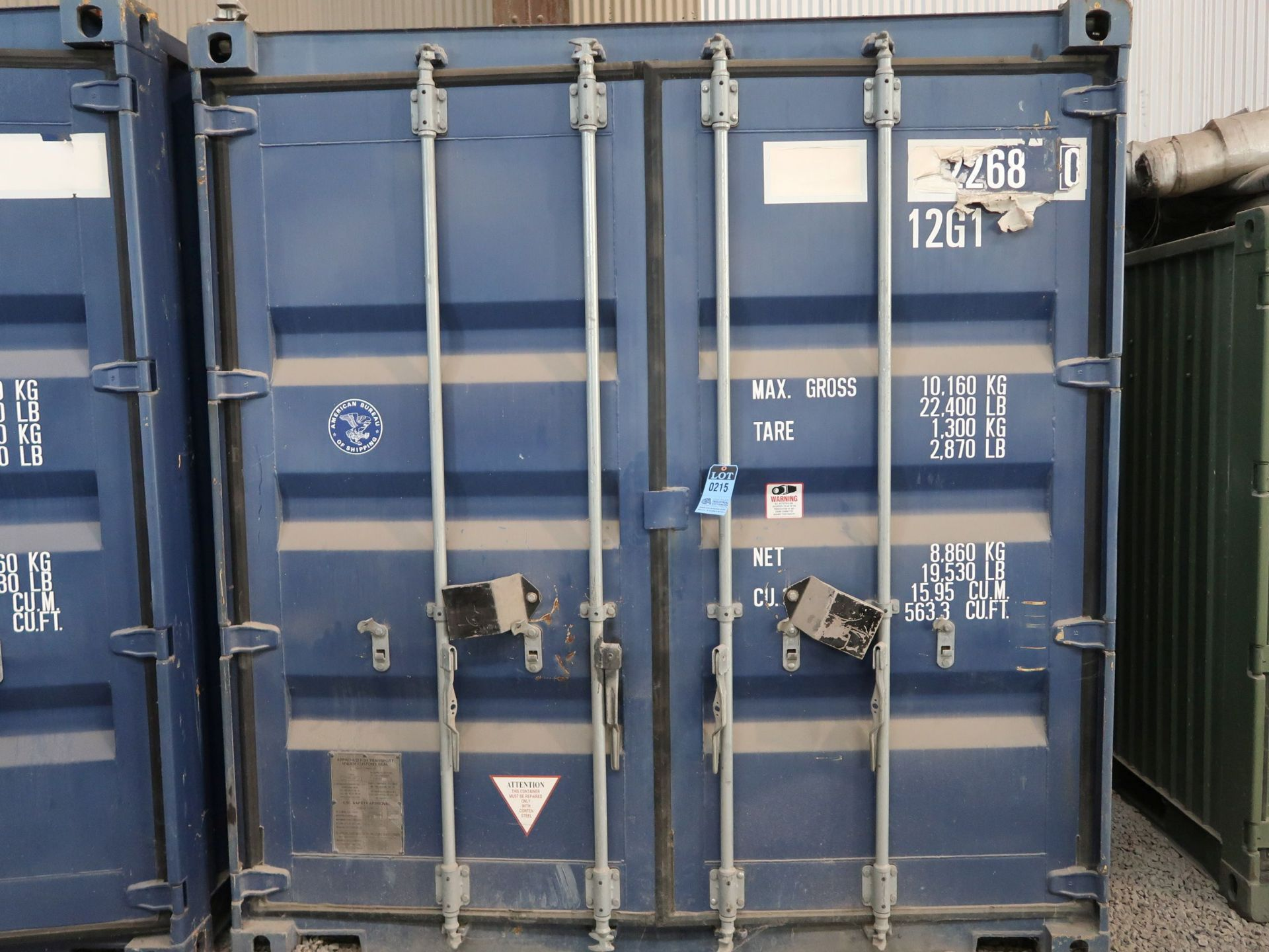 "Lot 215 - 96"" X 118"" X 102"" X 563 CU. FT. CONEX STORAGE CONTAINER WITH STANDARD DOOR"