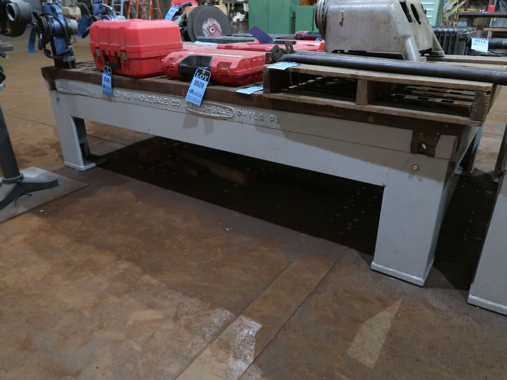 "Lot 519 - 96"" X 60"" X 5-1/2"" WELD-SALE ACORN WELDING TABLE"