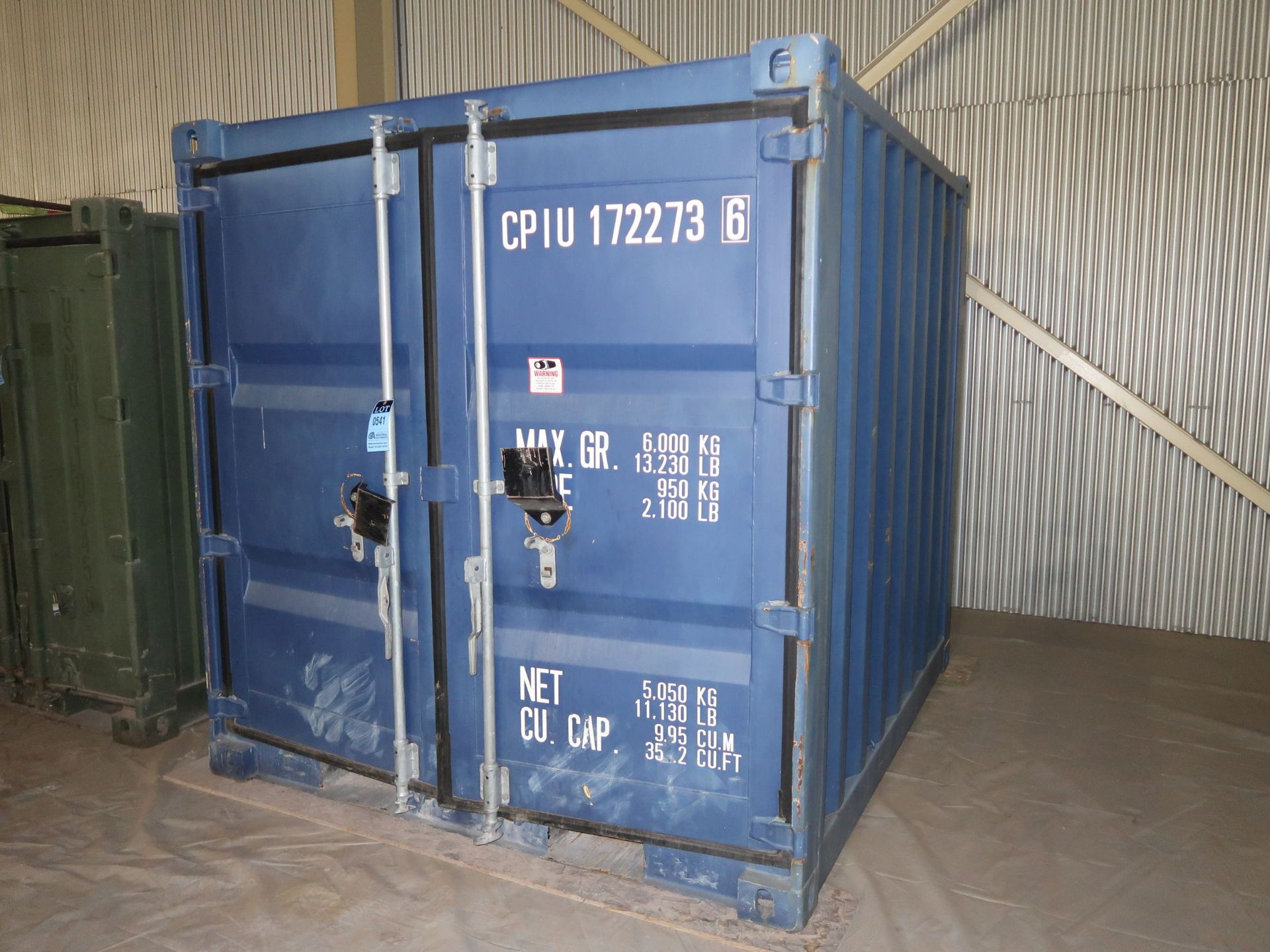 Lot 541 - 7' WIDE X 8' LONG CONEX STORAGE CONTAINER, 351 CUBIC FEET WITH STANDARD DOOR