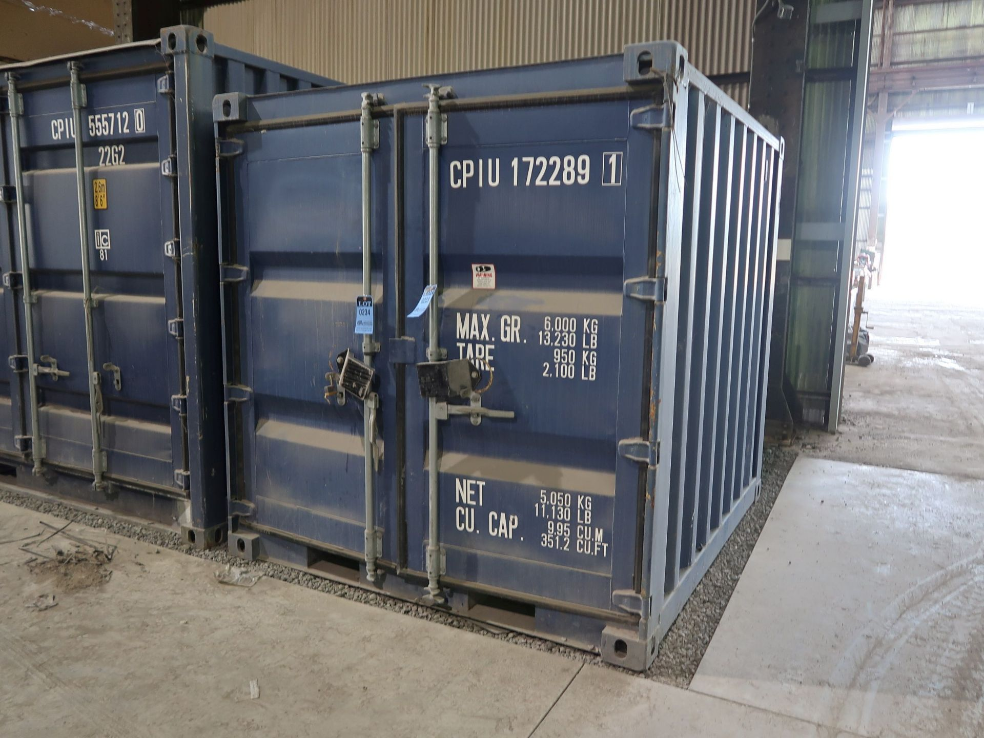 "Lot 234 - 86"" X 96"" X 89"" X 351 CU. FT. CONEX STORAGE CONTAINER WITH STANDARD DOOR"