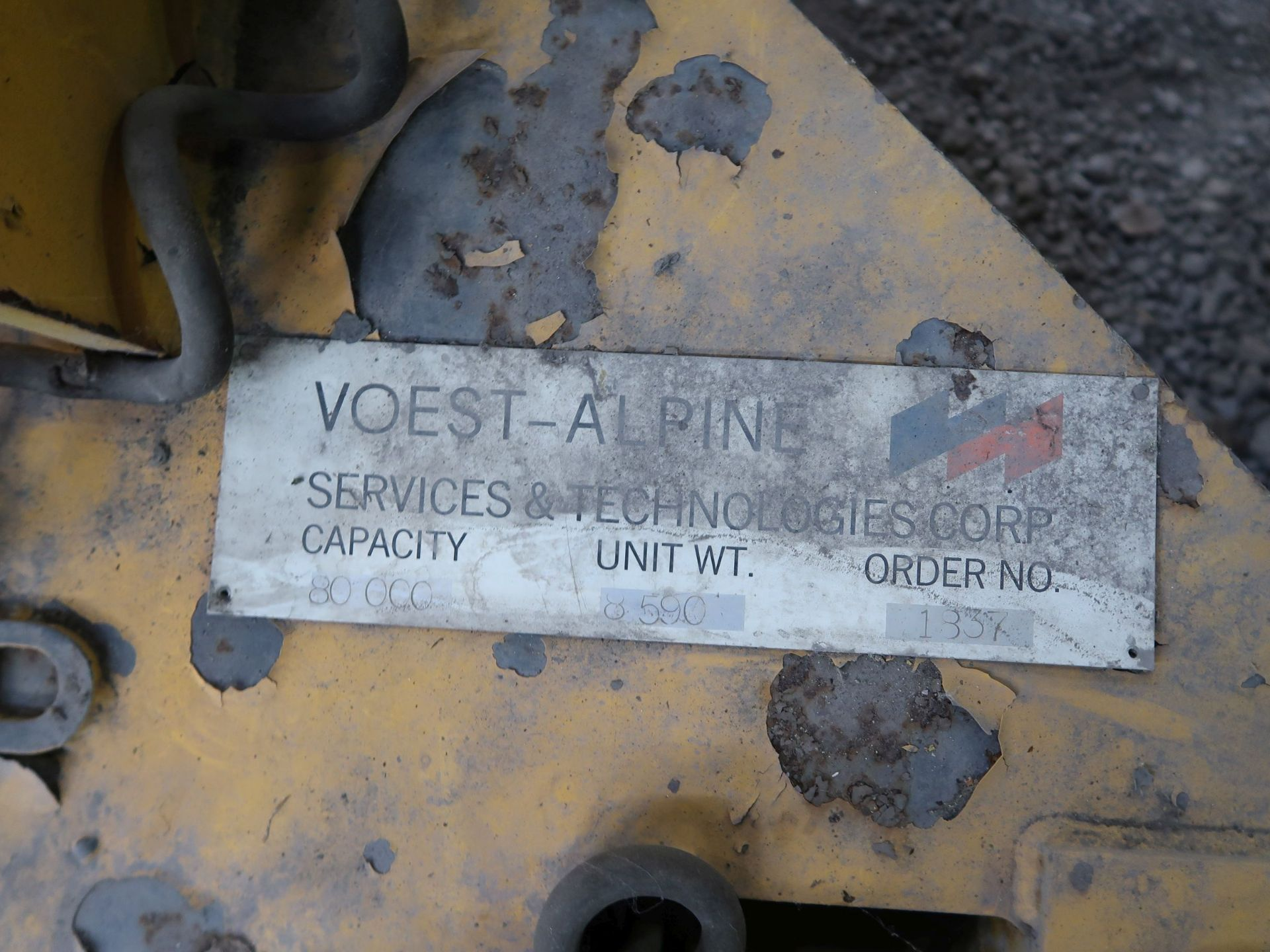 Lot 438 - 80,000 LB. VOEST - ALPINE HSF7 MOTORIZED OVERHEAD CRANE COIL LIFTER