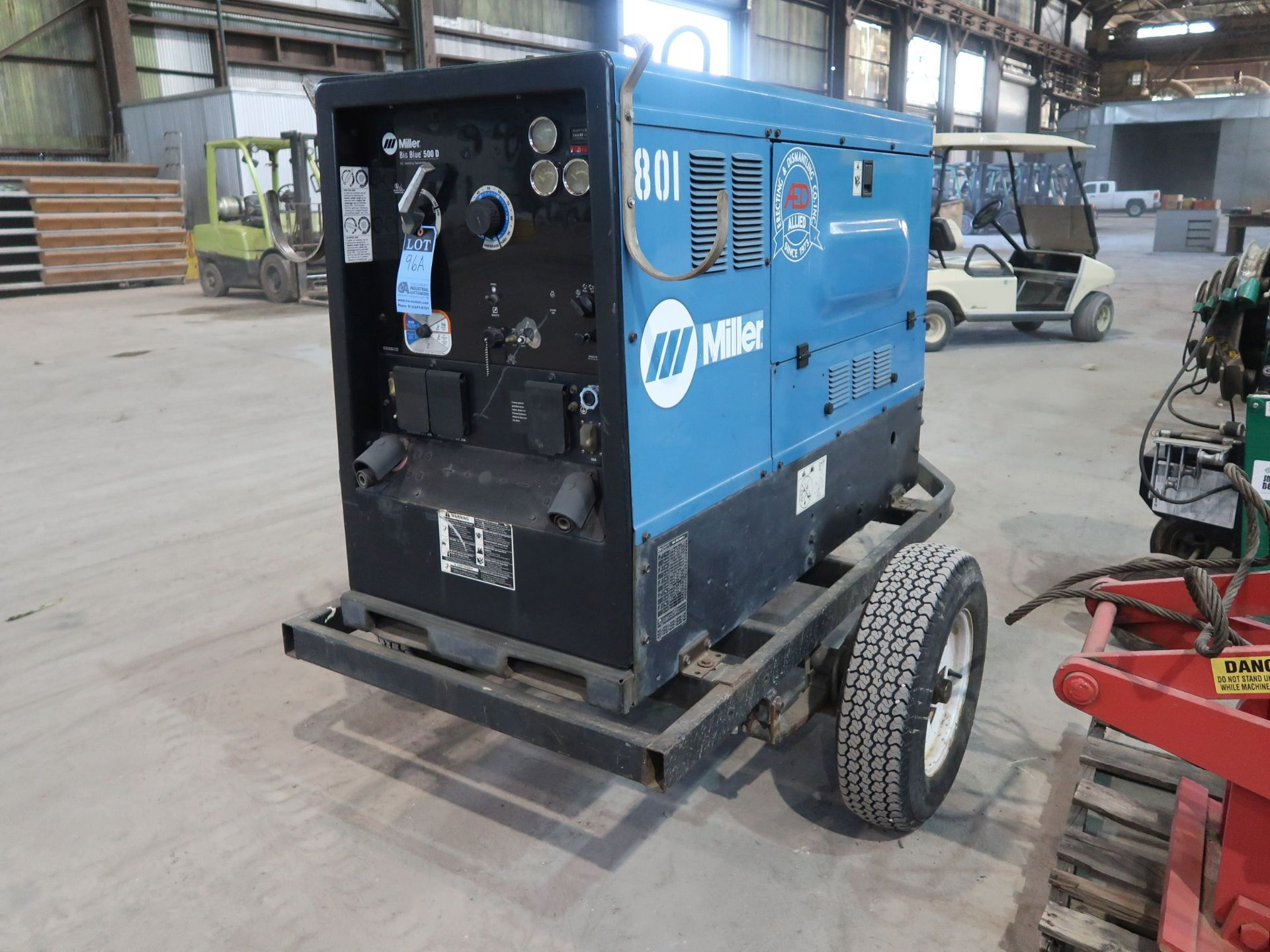 Lot 96A - MILLER MODEL BIG BLUE 500D TRAILER MOUNT DC WELDING / GENERATOR, 5,663 HOURS; S/N LF108797