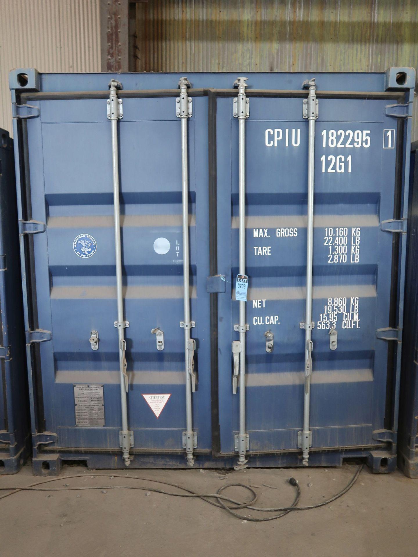"""Lot 209 - 96"""" X 118"""" X 102"""" X 563 CU. FT CONEX STORAGE CONTAINER WITH STANDARD DOOR"""