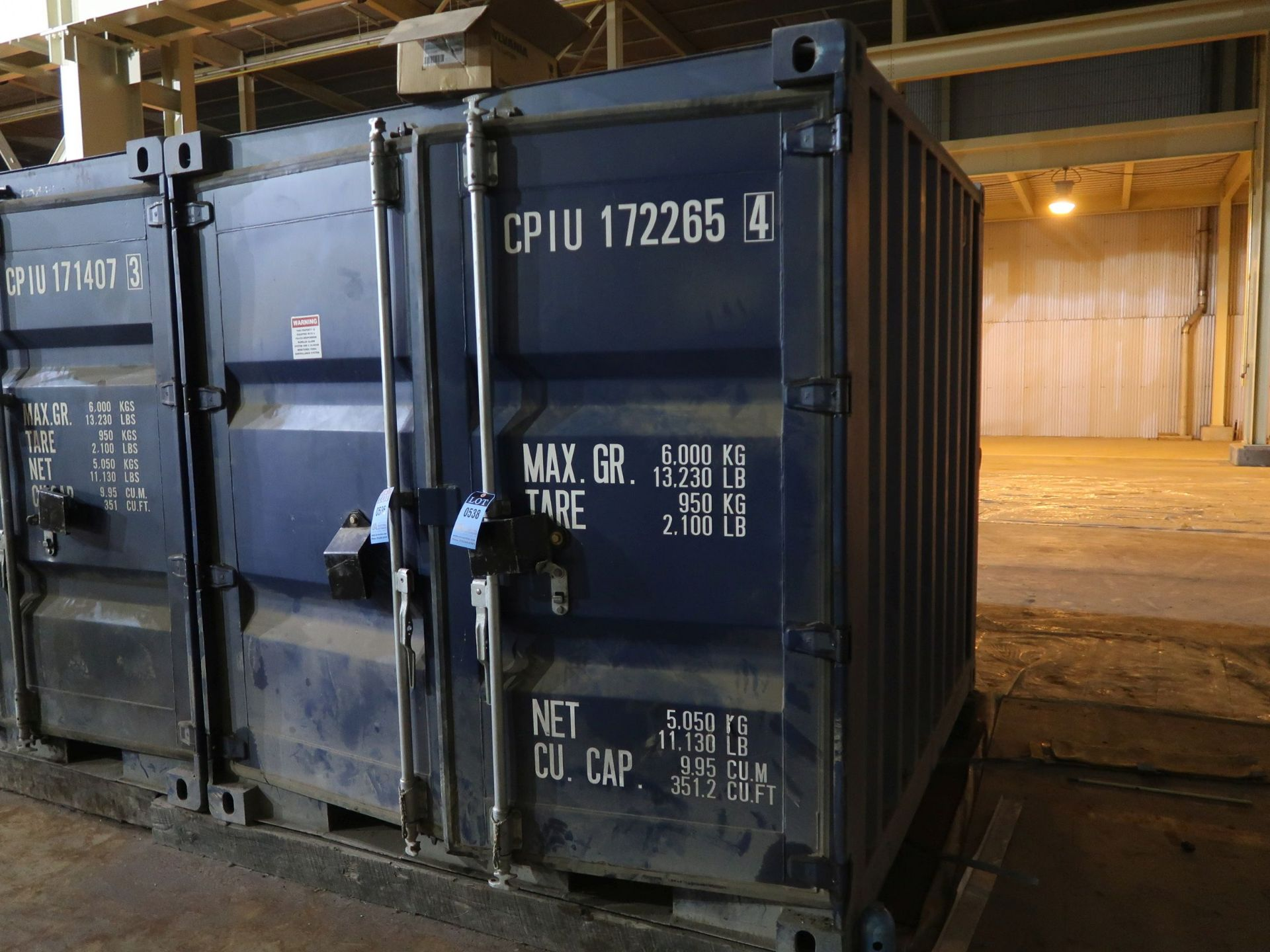 Lot 538 - 7' WIDE X 8' LONG CONEX STORAGE CONTAINER, 351 CUBIC FEET WITH STANDARD DOOR