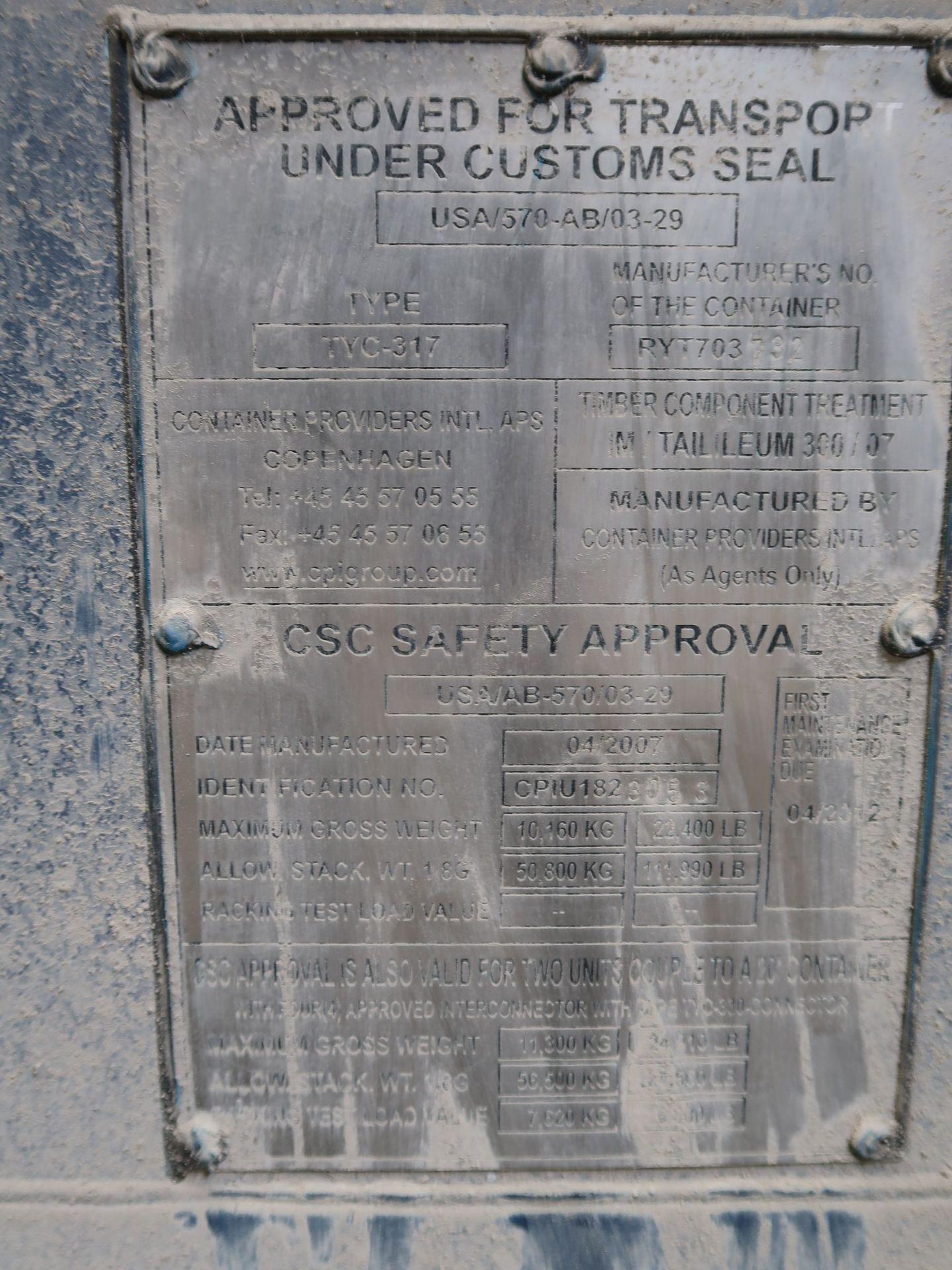 Lot 380 - 8' X 8' CONTAINER PROVIDER INTL CONEX STORAGE CONATINER WITH STANDARD END DOOR, 563 CU. FT.