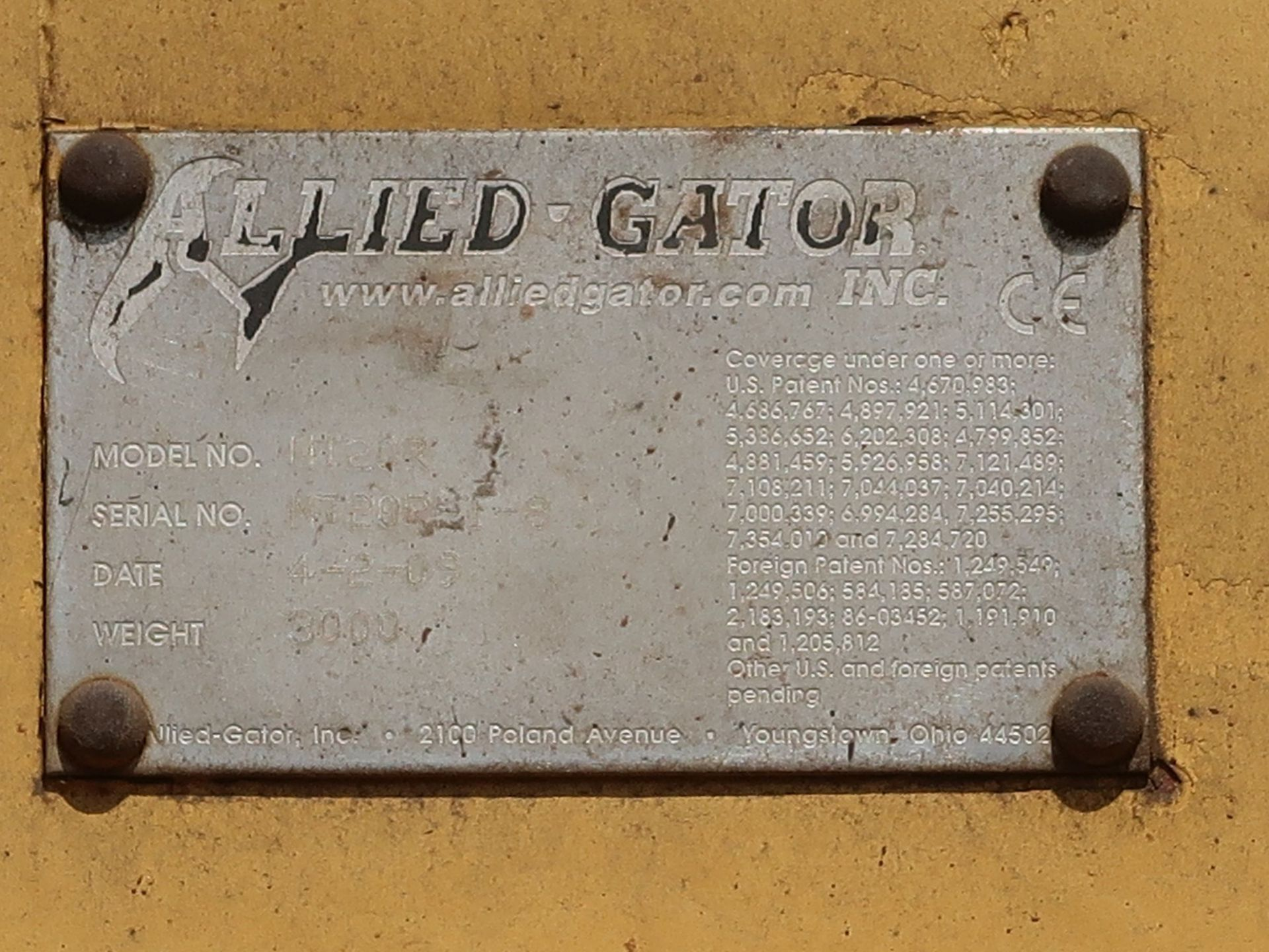 Lot 1032 - ALLIED GATOR MT20 DENSIFIER ATTACHMENT (DISCONNECT AT BOOM)