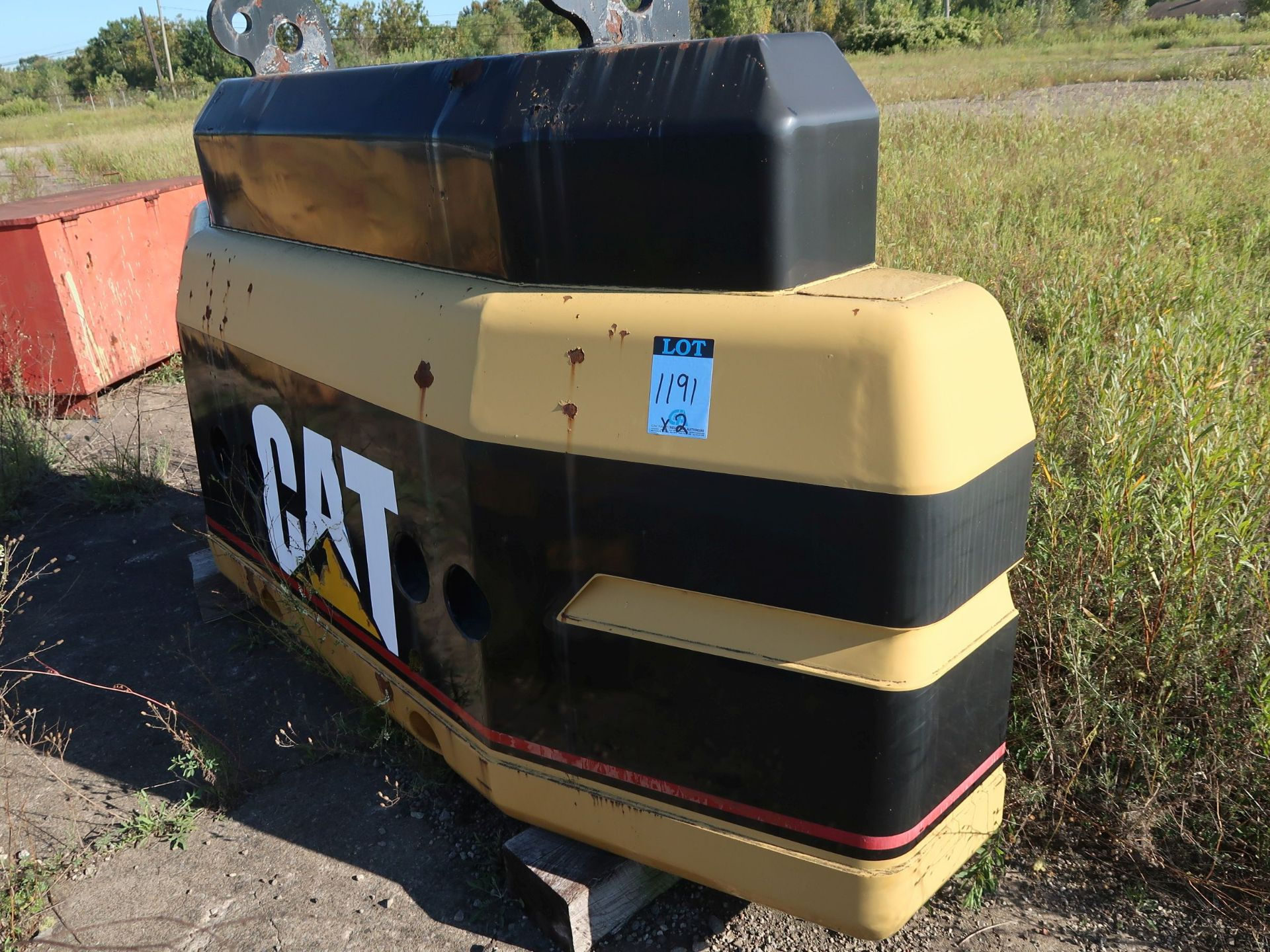 Lot 1191 - 8' X 18' CATERPILLAR EXCAVATOR COUNTER WEIGHTS WITH ADDITIONAL COUNTER WEIGHT TO 20,000 LB