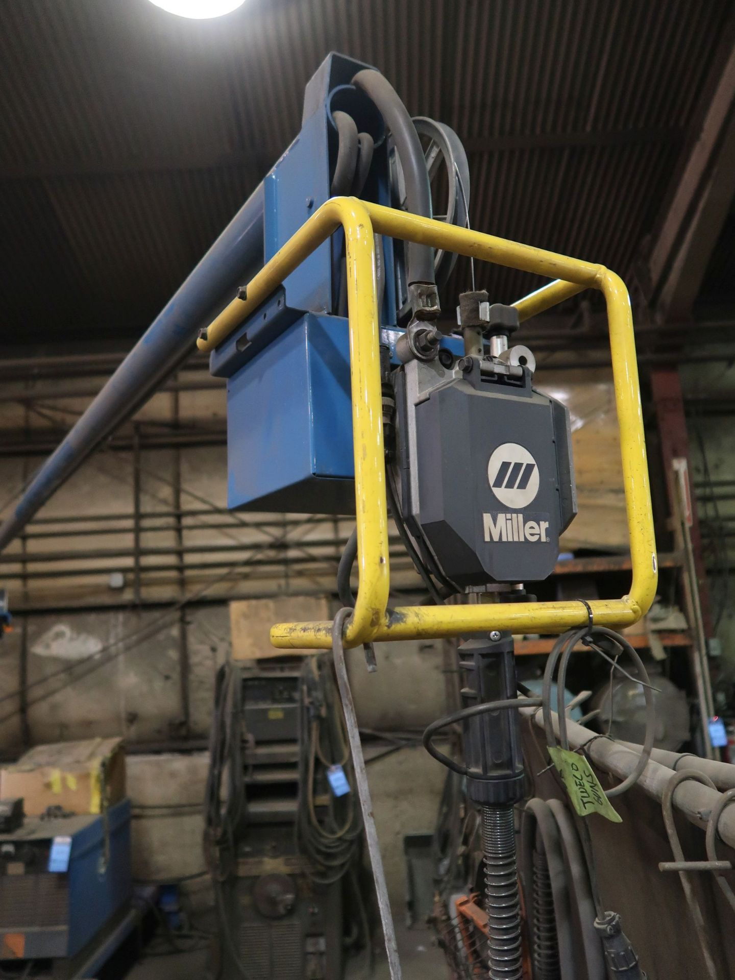 Lot 1133 - 650 AMP MILLER DELTA WELD 650 WELDER WITH 15' BOOM AND MILLER WIRE FEED