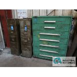 (LOT) (3) CABINETS INCLUDIG 7-DRAWER WITH MISC. HARDWARE & TOOLING & (2) FILE CABINETS