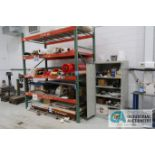 TWO-DOOR TENNSCO CABINET WITH MISCELLANEOUS CONTENTS AND CONTENTS ON RACK - COMPOSITE MATERIAL AND
