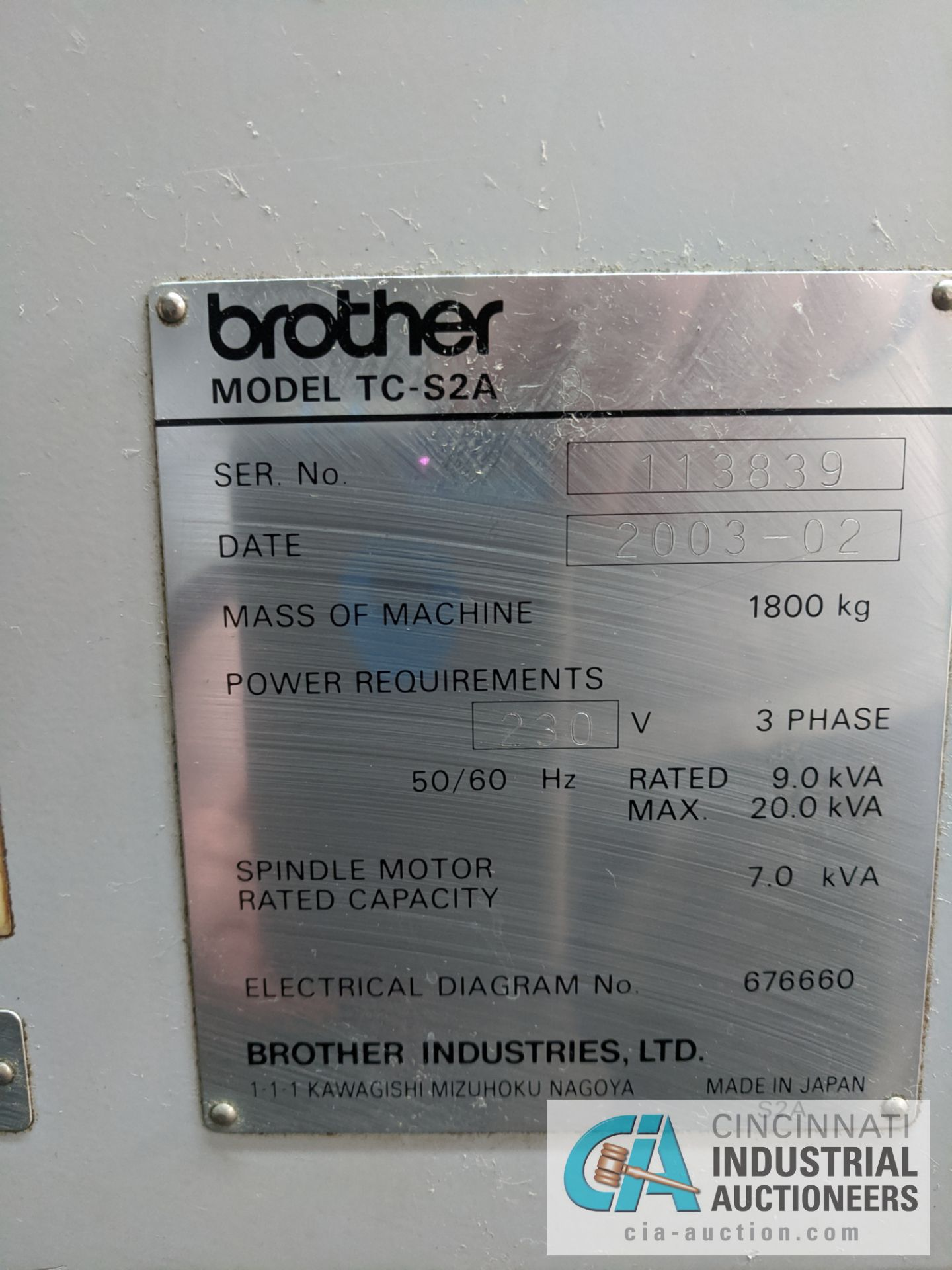 BROTHER MODEL TC-S2A-O CNC DRILL AND TAP MACHINE; S/N 113839 (NEW 2003) - Image 9 of 9