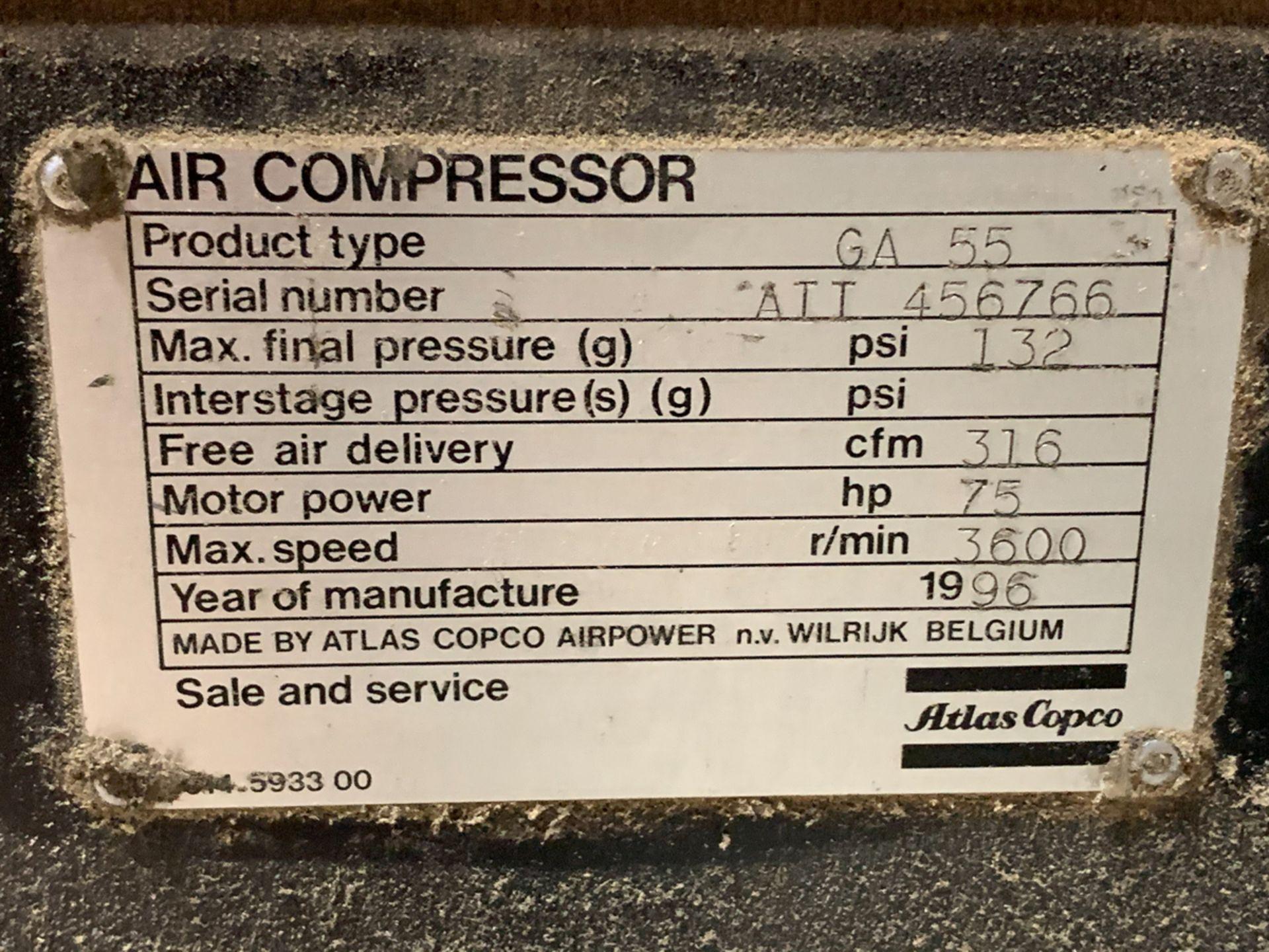 ATLAS COPCO GA 55, 75 HP AIR COMPRESSOR, WATER COOLED, S/N: A11456766, 600 VOLTS, W/ ATLAS COPCO - Image 3 of 6