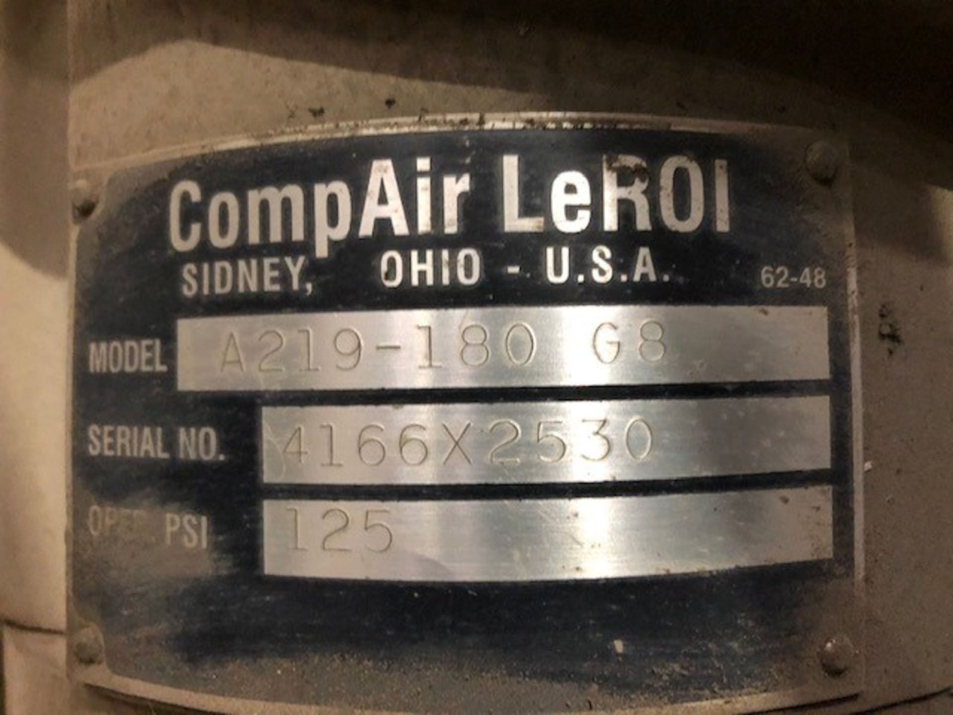 Lot 50 - Air Compressor 50hp #1 CompAir LeRoi, model: A219-180 G8, s/n: 4166X2530, 125psi, 50hp 600v