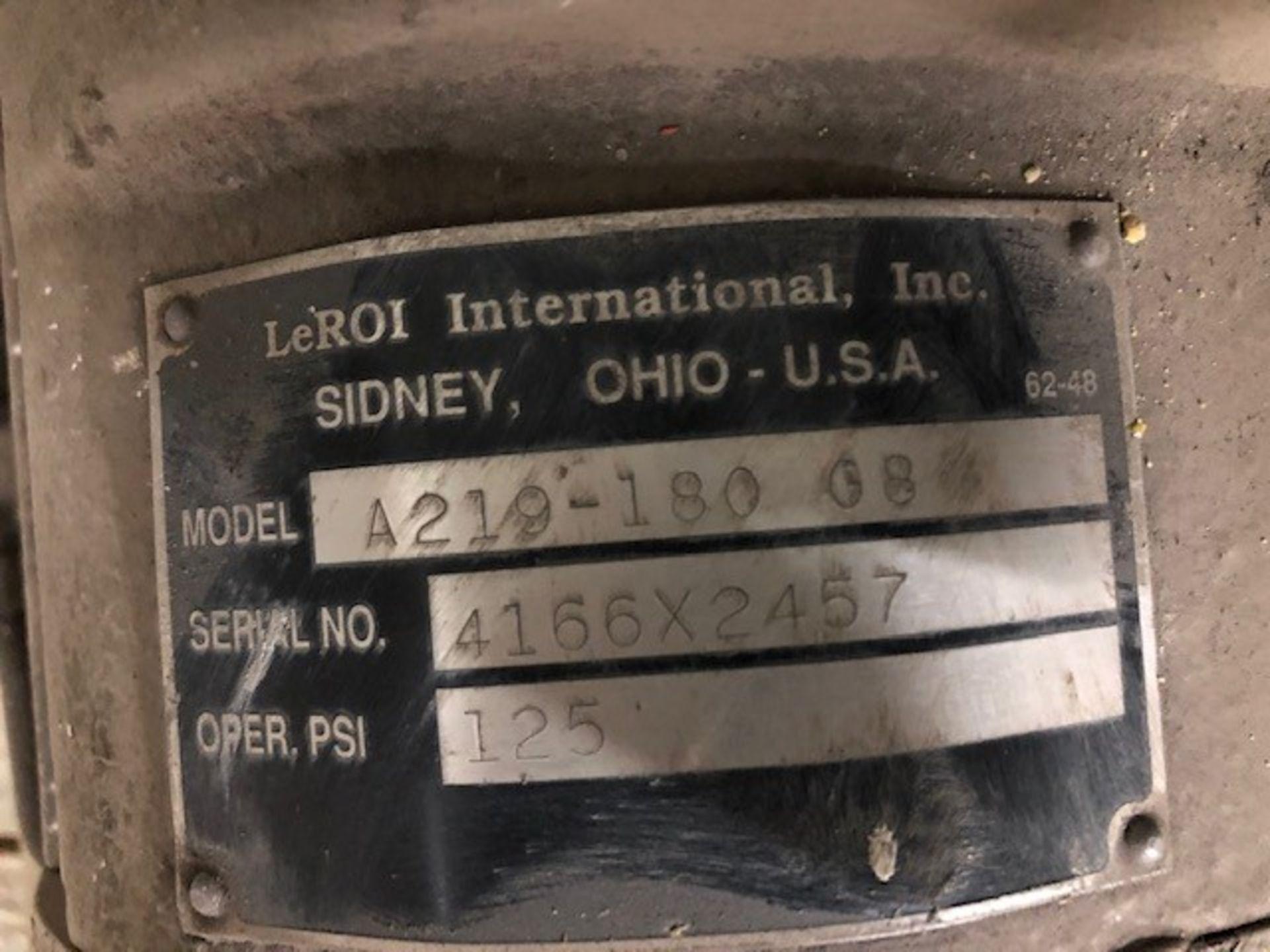 Air Compressor 50hp #2 LeRoi International model: A219-180 G8, s/n: 4166X2457, 125psi, 50hp 600v - Image 3 of 3