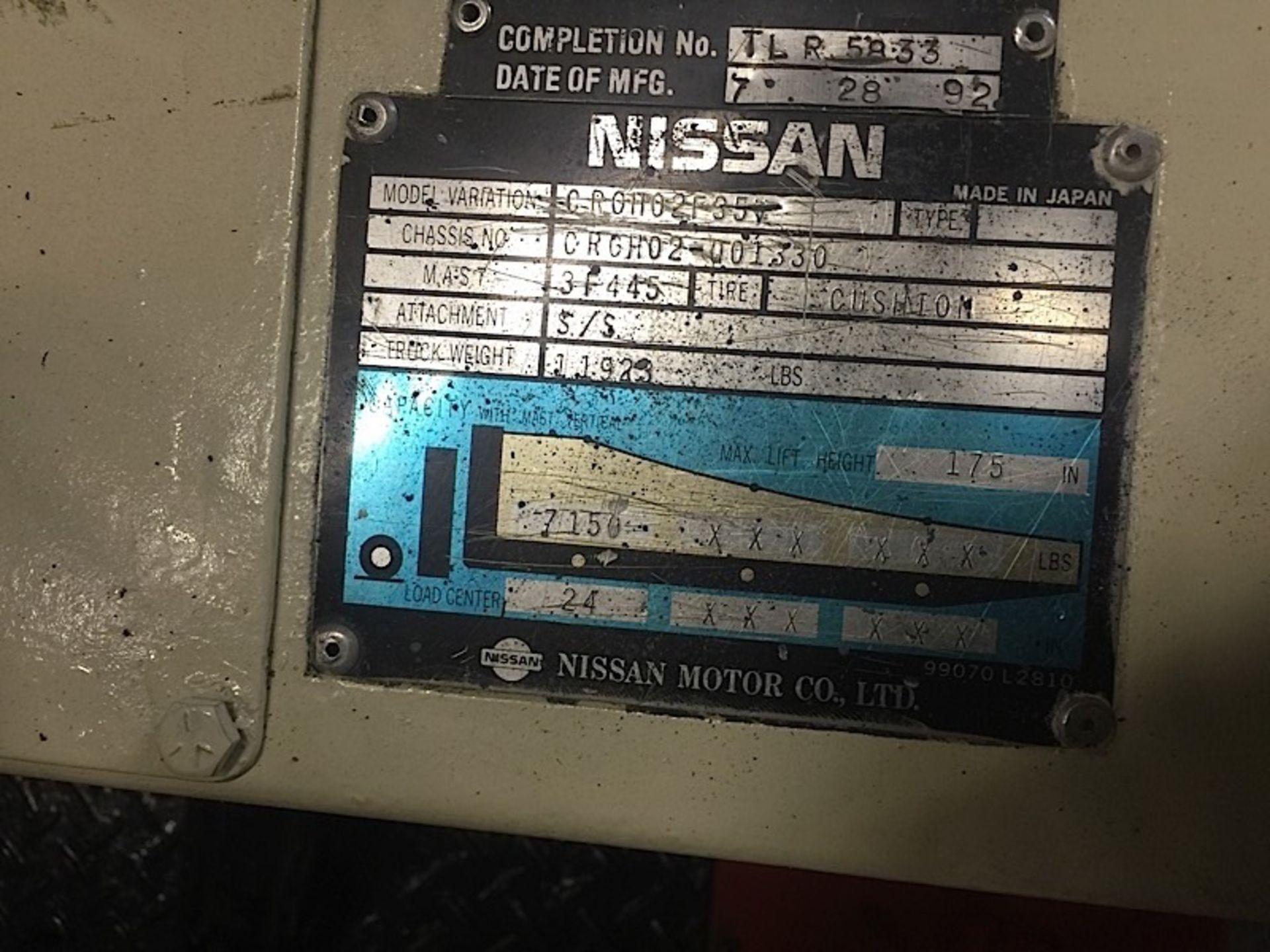 Lot 50 - NISSAN (CR0H02F35V) 8,000LBS LPG FORKLIFT