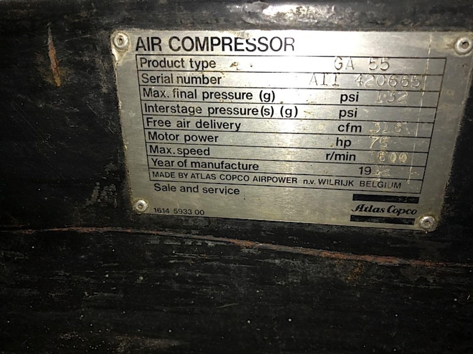 Lot 12 - ATLAS COPCO 75 HP AIR COMPRESSOR