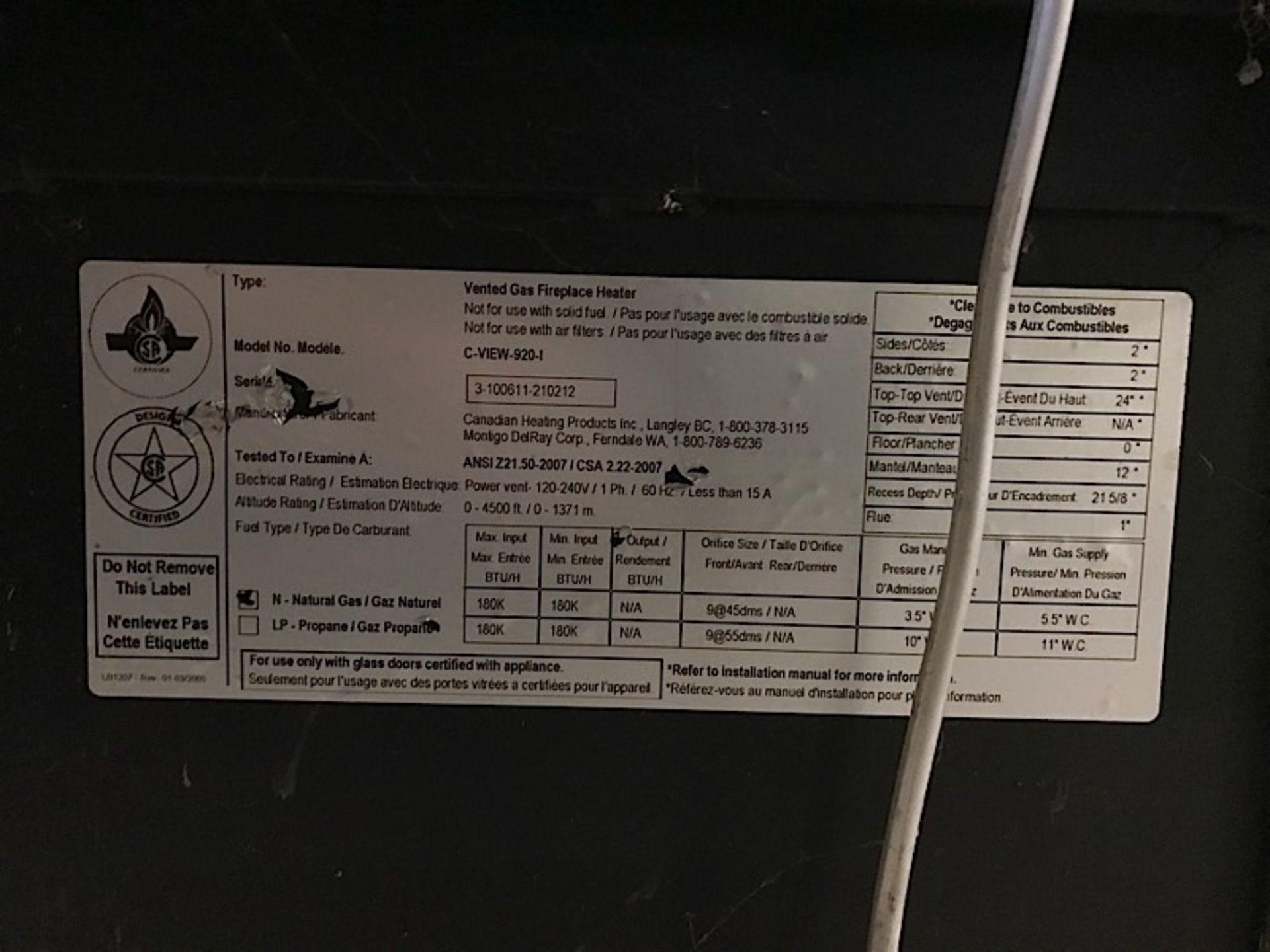 Lot 34 - MONTIGO 10ft VENTED GAS FIREPLACE (C-VIEW-920-I)