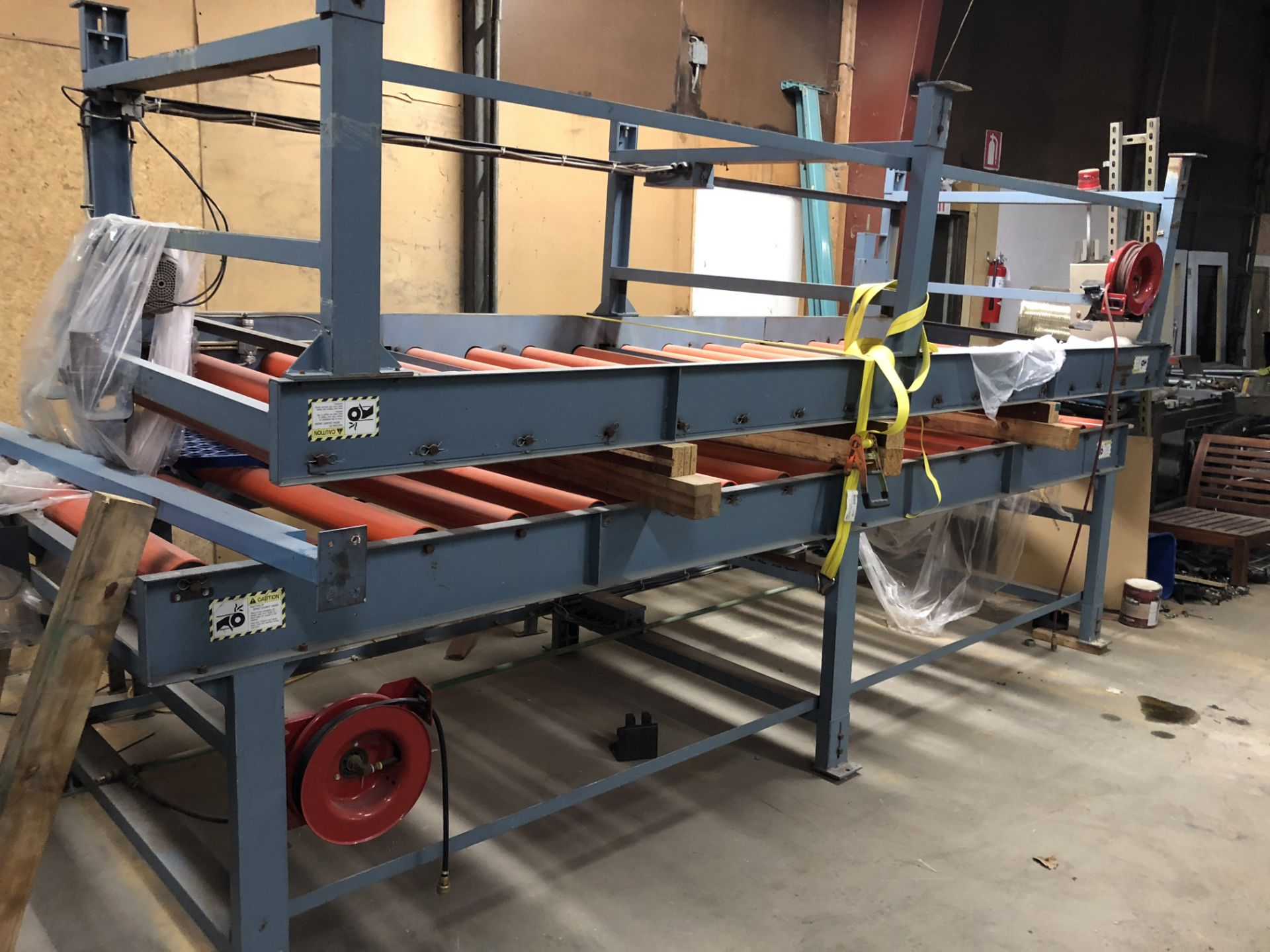 Lot 18 - LOT OF 2 POWERED RED ROLLER CONVEYORS