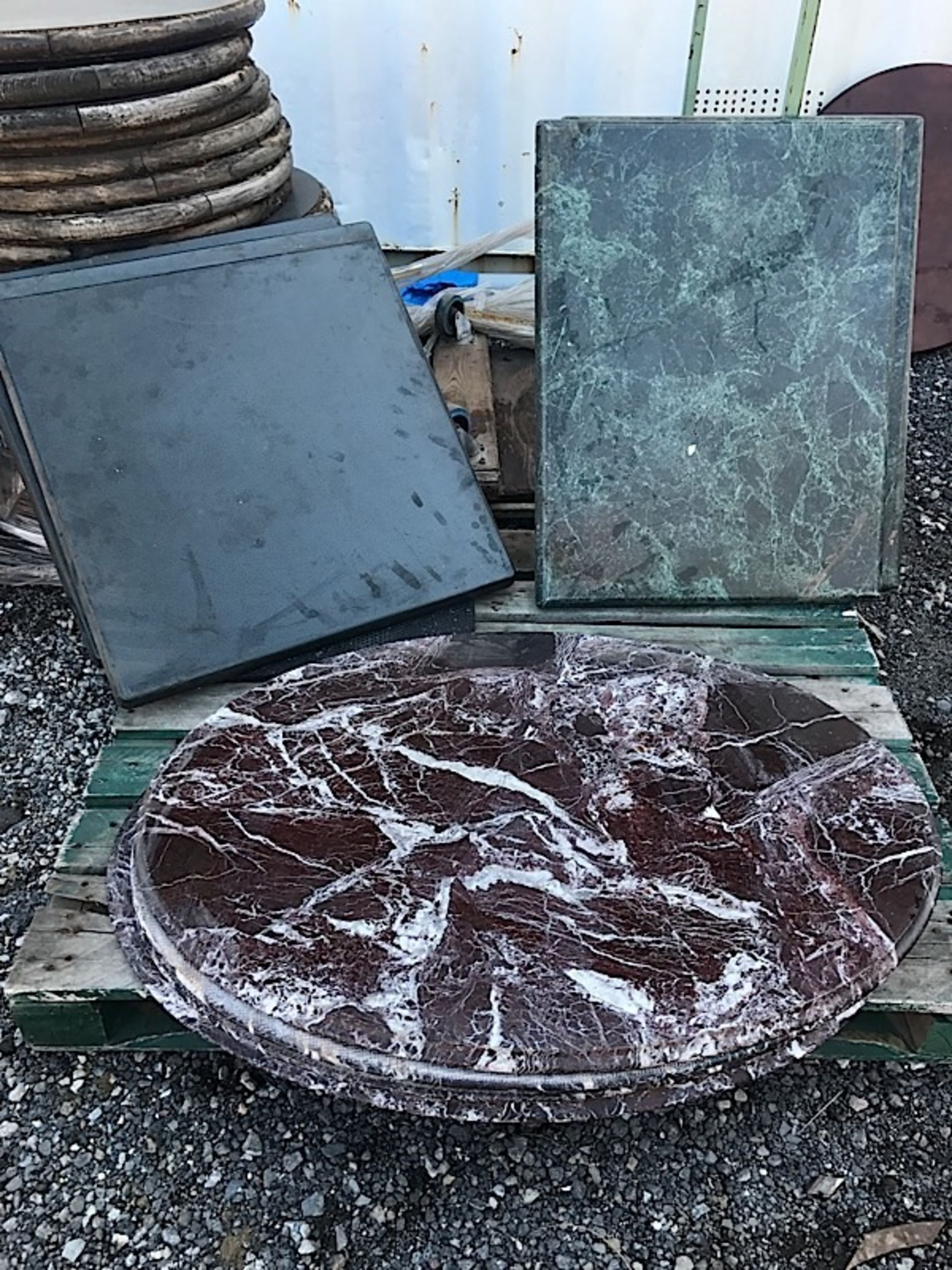 Lot 43 - LOT OF MARBLE TABLE TOPS & WOOD TOPS