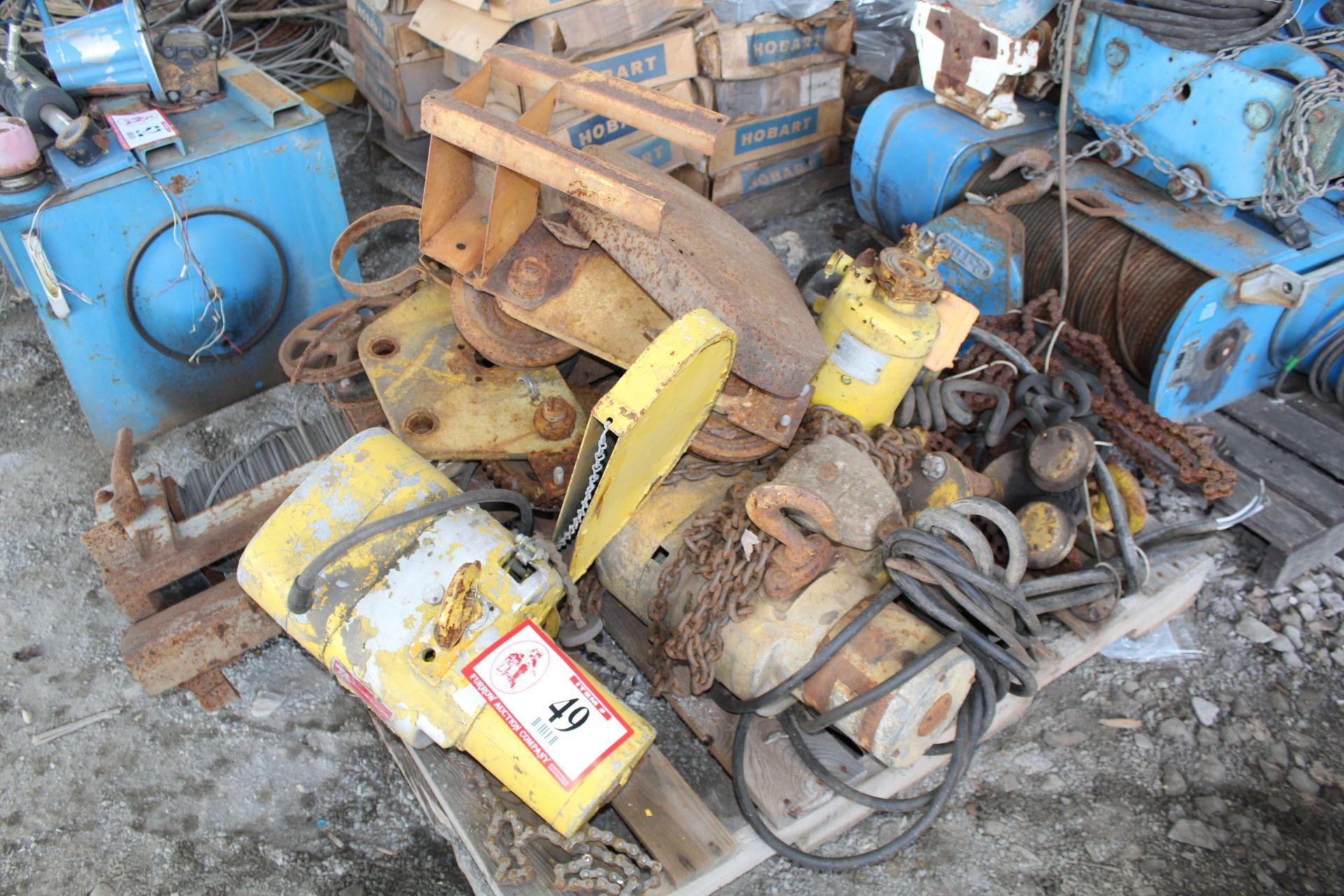 Lot 49 - Contents of Pallet (5) Electric Hoists, Hoists Parts & Accessories
