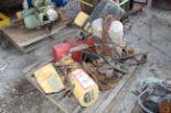 Lot 48 - (4) Electric Hoists on Pallet, (1) Yale 2 Ton, (1) Dayton 1 Quarter Ton, (1) Budgit 1/2 Ton, (1) C&M