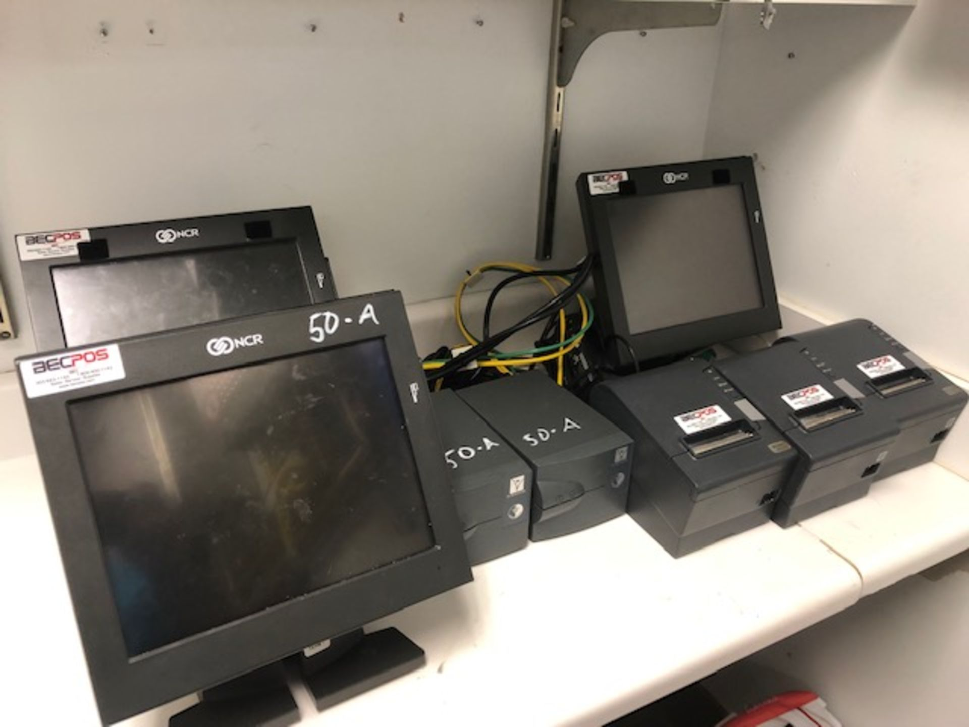 Lot 50a - (3) NCR Monitors and (3) Receipt Printers