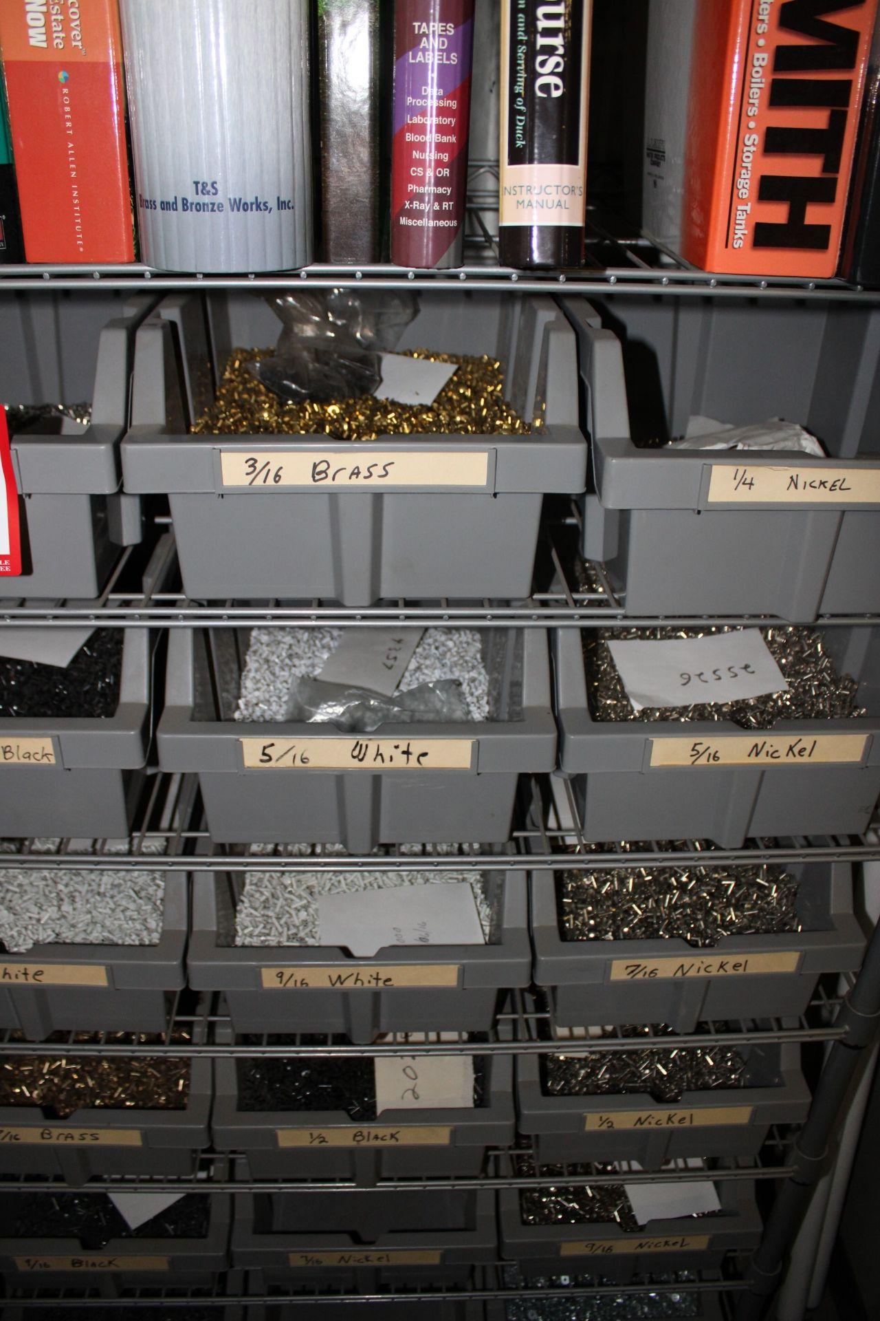 Lot 54 - Shelf & Contents: Various Fans w/ Various Sizes & Type Rivets