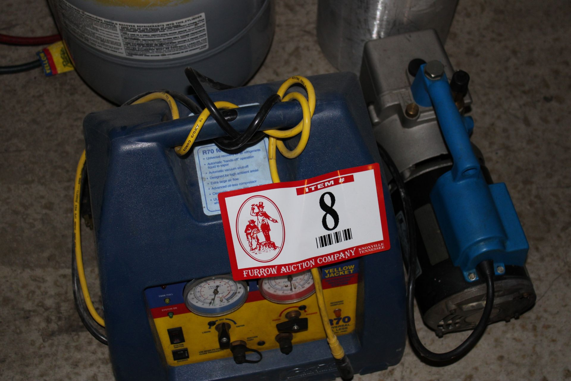 Lot 8 - Yellow Jacket R70 Refrigerate Recovery/Filler System and (1) Robinair SPX Vacuum Pump, Nitrogen Tank