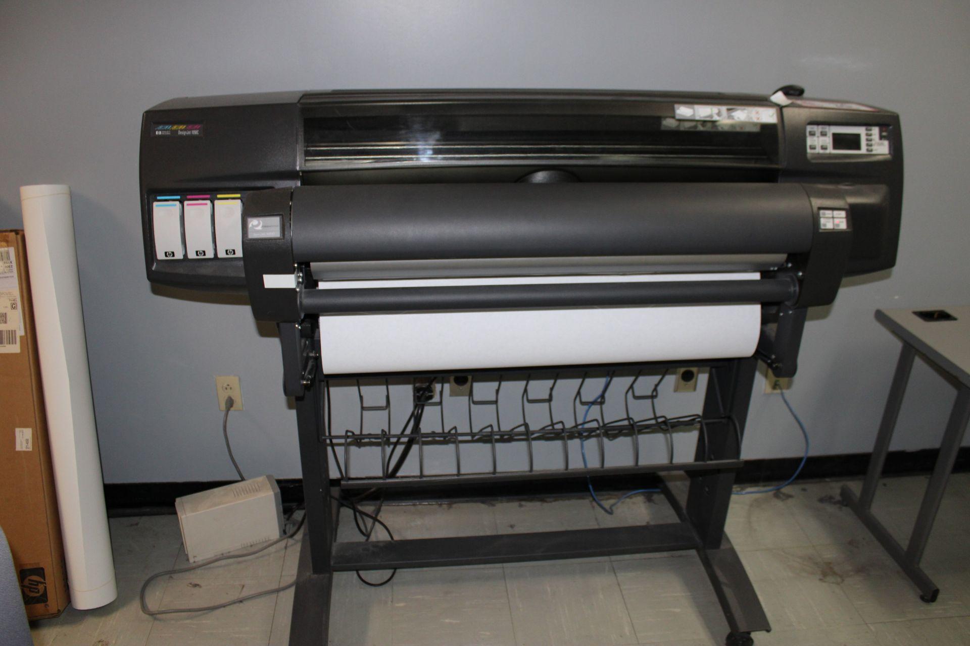 Lot 26 - HP Design Jet 1050C Wide Format Colored Printer w/ Techsage Spin Jet 1000
