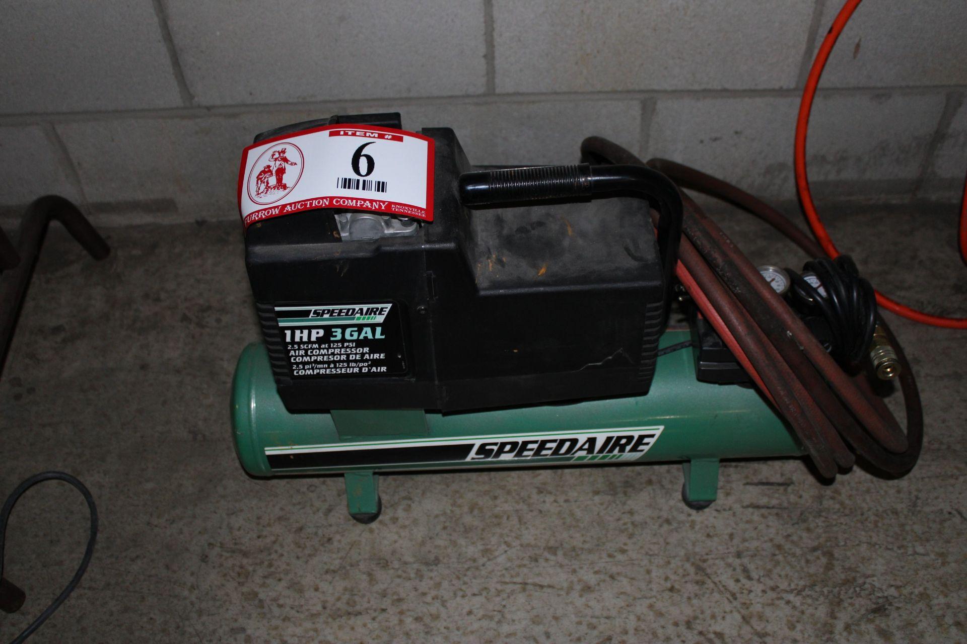Lot 6 - Speed Air 1hp 3 Gallon Portable Electric Air Compressor
