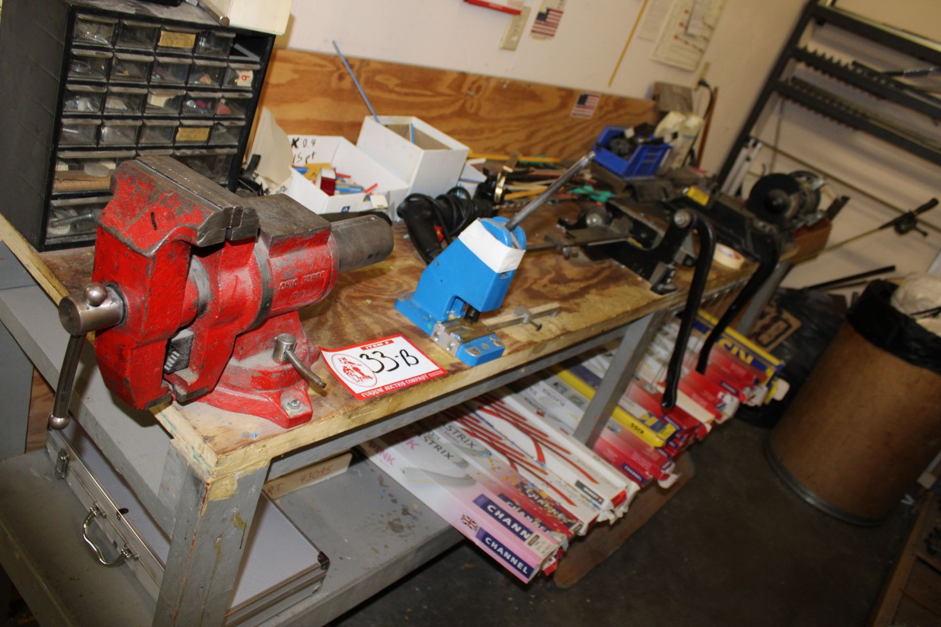 Lot 33b - Various Size Channel, Lays, Cutters, Grinder, 6' Jaw Vise, Etc For Plate Press Equipment