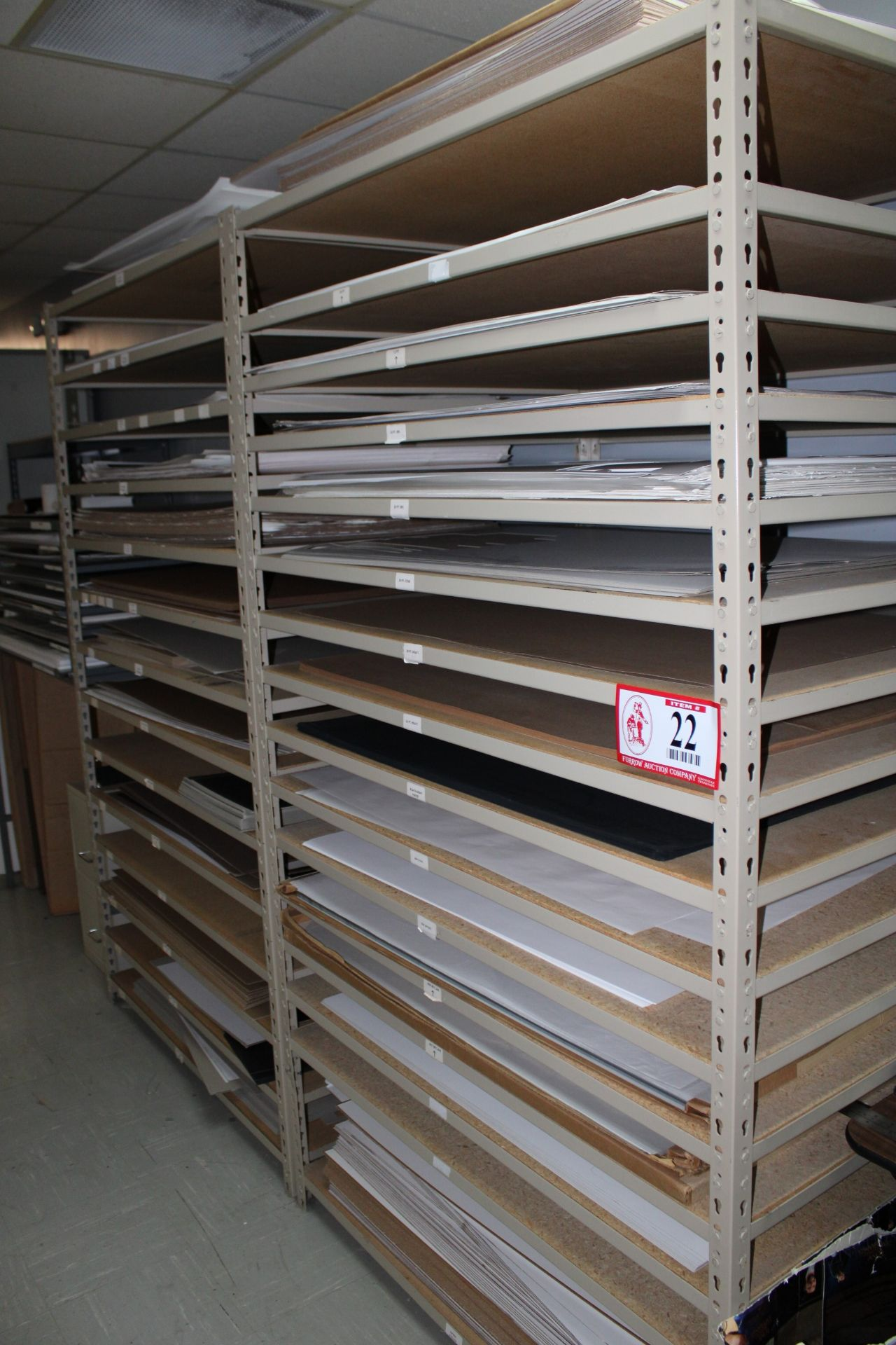 Lot 22 - Shelves & Contents- Paper, Cardboard Box Stock, Various Sizes