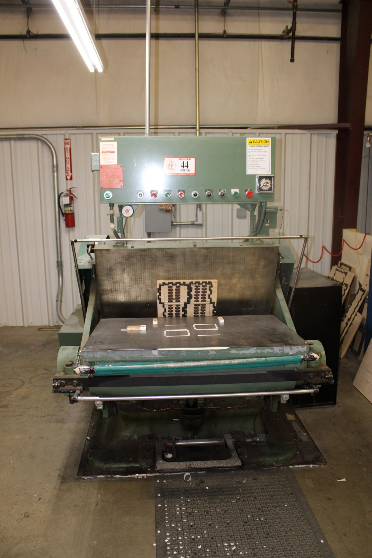 "Lot 44 - Thomason Die Press 29"" x 43"" Bed w/ Wooden Cabinets and Contents- Various Dies, Lays, Etc"