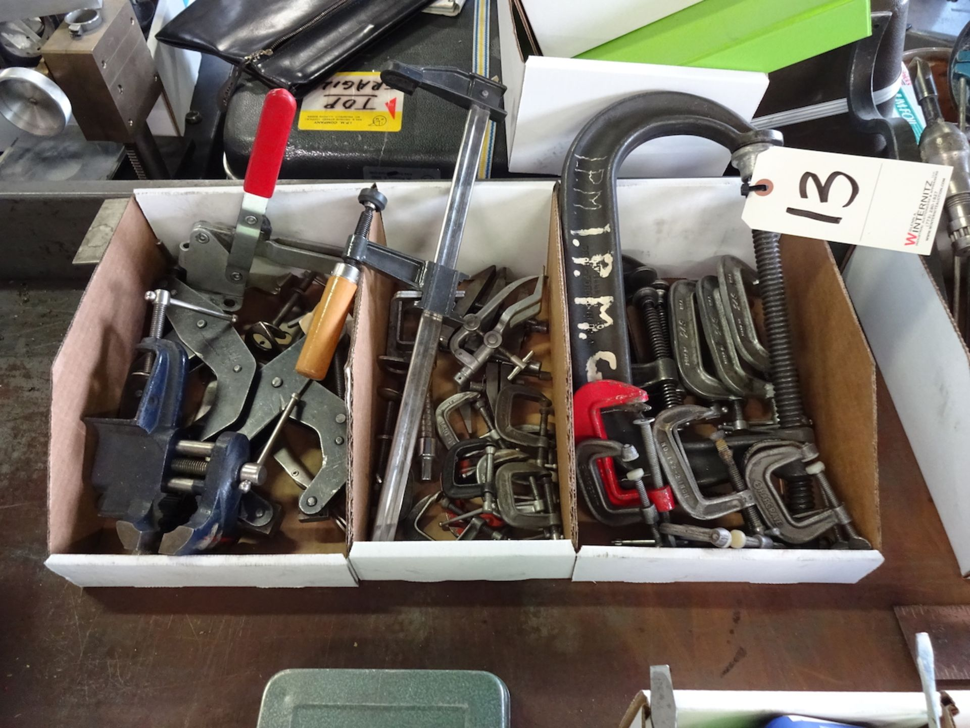 Lot 13 - LOT: ASSORTED CLAMPS (IN 3 BOXES)