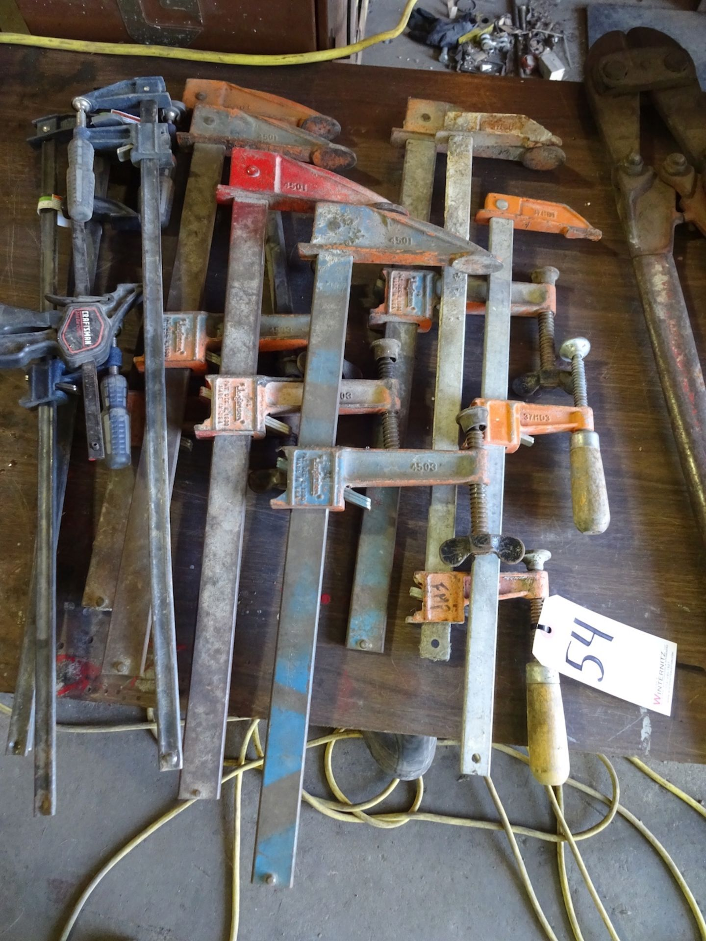 Lot 54 - APPROX. (12) ASSORTED CLAMPS, QUIK GRIP AND BAR CLAMPS UP TO 2' LONG