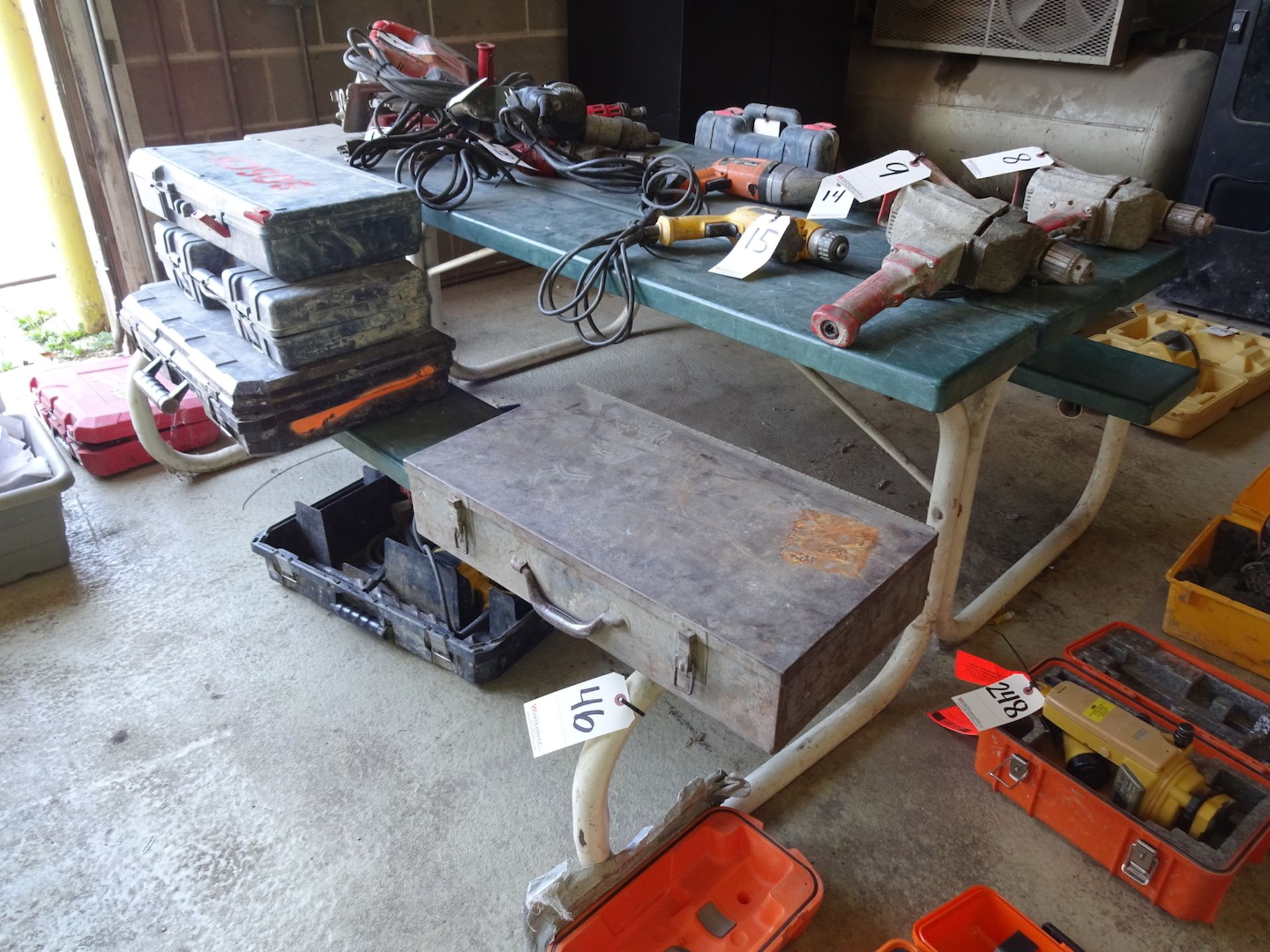 Lot 46 - METAL FRAMED PICNIC TABLES WITH ATTACHED BENCHES