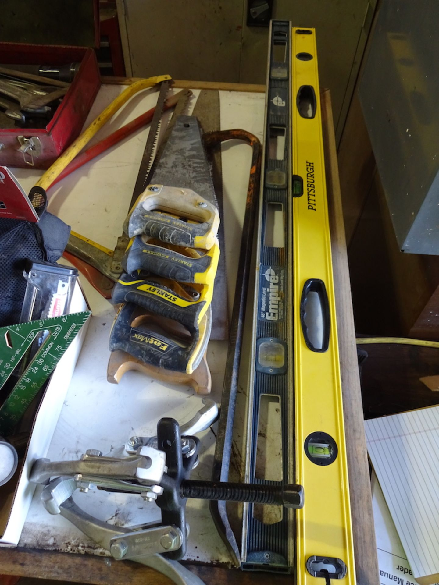 Lot 51 - ASSORTED TOOLS; LEVELS, HAND SAWS, HAMMERS, PULLER, SPRAY GUN & MISC.