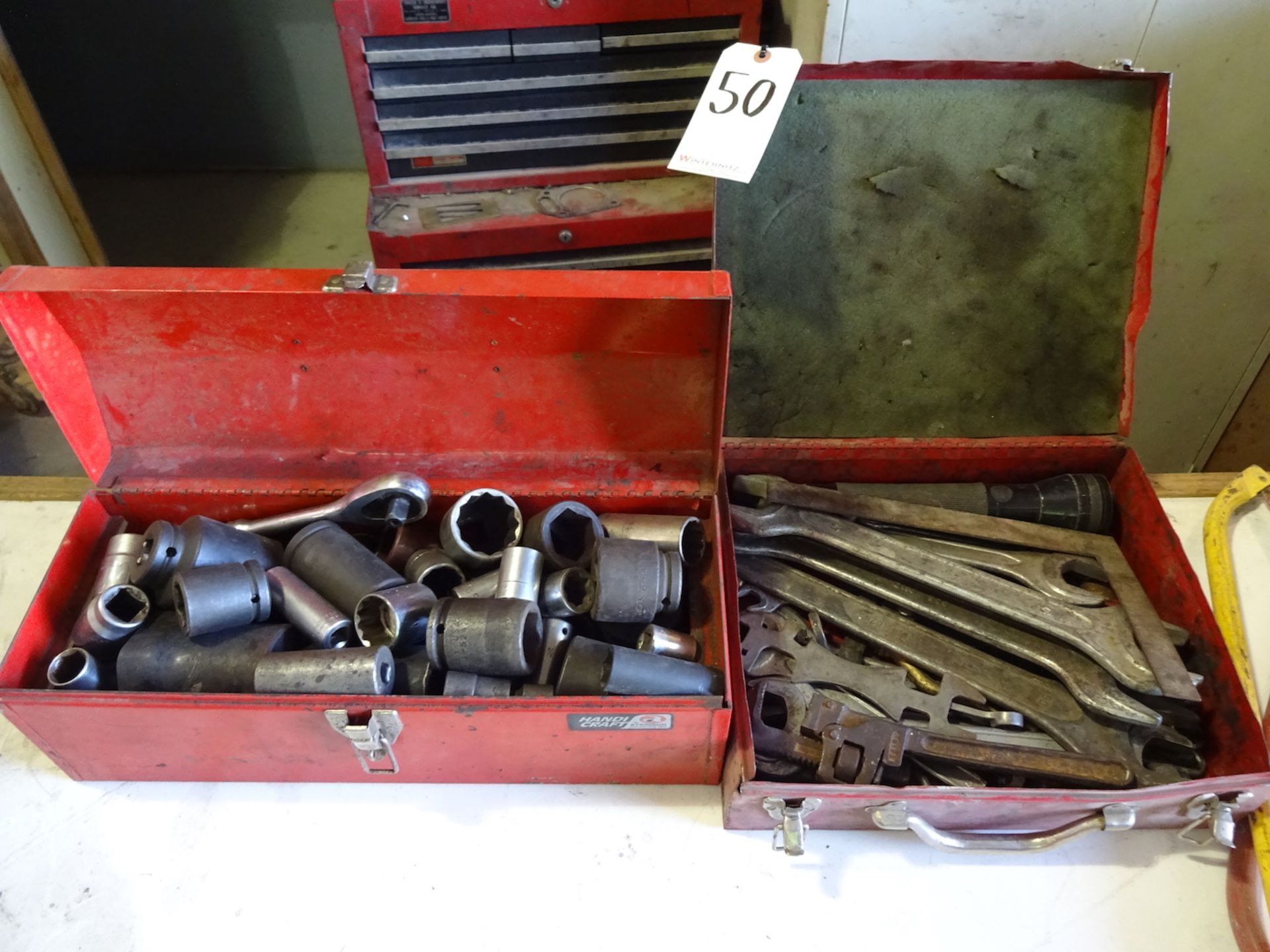 Lot 50 - (2) RED METAL TOOLBOXES WITH IMPACT SOCKETS, RATCHET, ASSORTED WRENCHES AND MISC.