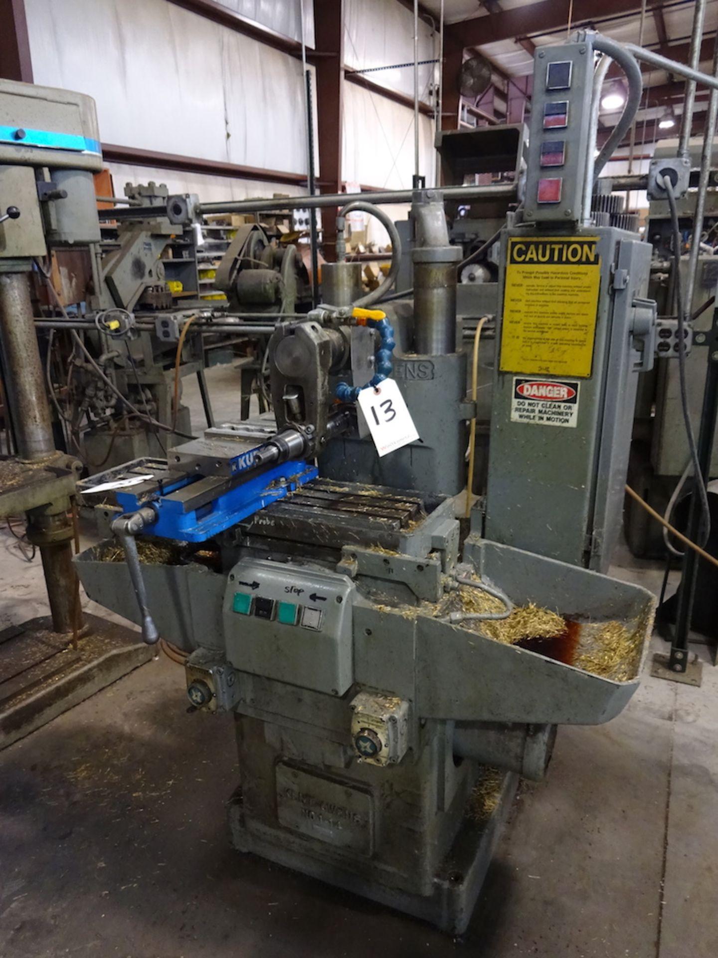 Lot 13 - Kent-Owens No. 1-14 Horizontal Milling Machine, S/N 1-14-1630, 2 HP, 208/220 Volt