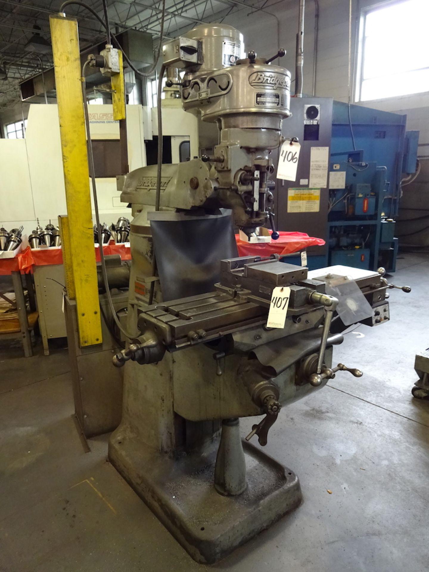 Lot 406 - Bridgeport 1 HP V-Ram Vertical Milling Machine, S/N 12/BR86073, Power Table Feed, 80 - 2720 RPM, 9
