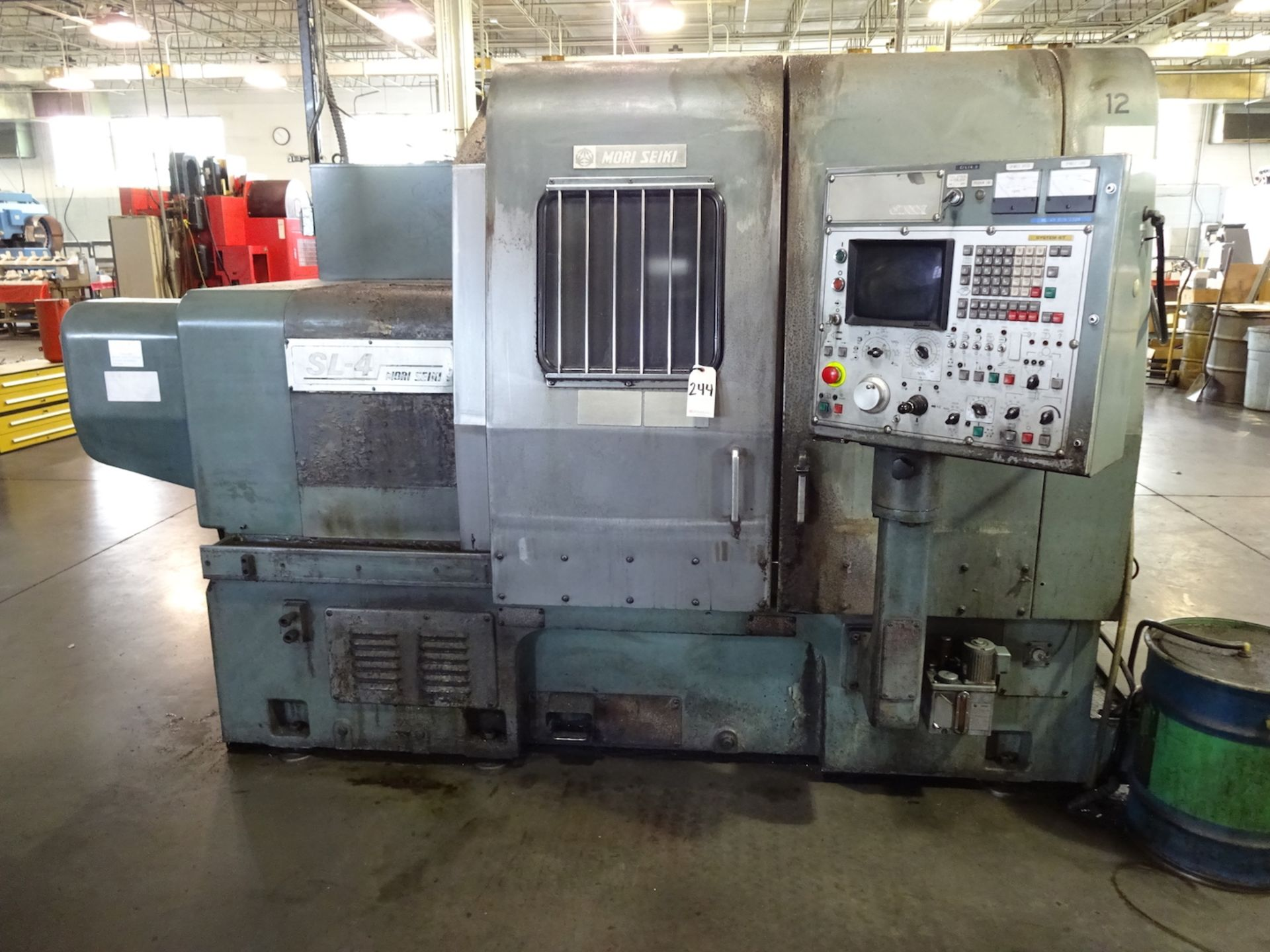 Lot 244 - Mori Seiki Model SL-4A CNC Turning Center, S/N 1328 (1984), Fanuc System 6-T CNC Control, 10 Station